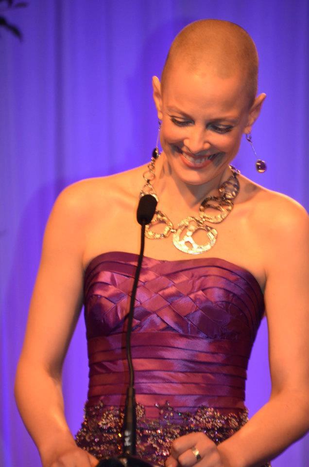 Sharon Blynn accepting BraveHeart Women's Association Courage Award