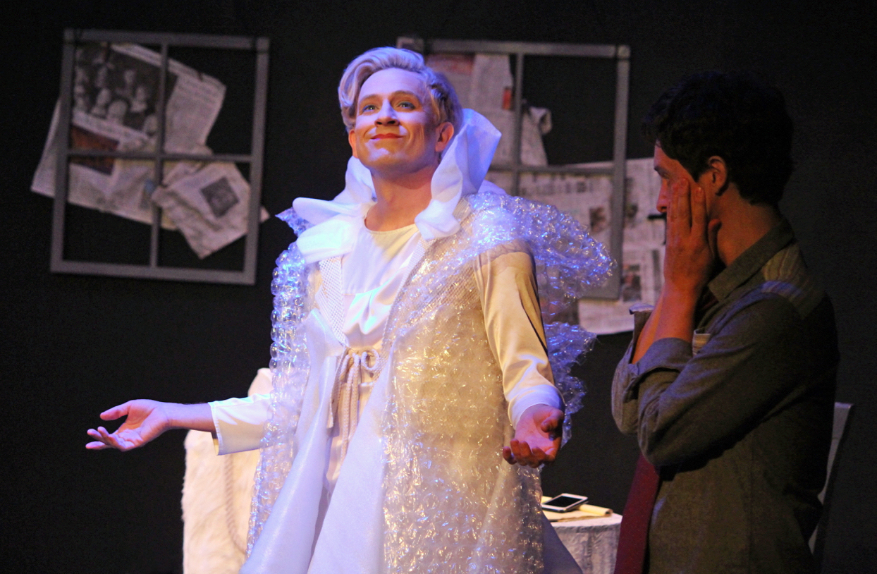 "Tom Lenk as ""Tilda Swinton"" and Byron Lane in ""Tilda Swinton Answers An Ad On Craigslist"", Photo Credit: Bryan Carpender"