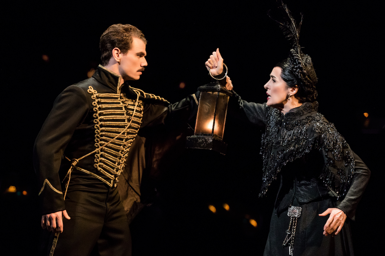 """Jay Armstrong Johnson as """"Raoul"""" and Maree Johnson as """"Madame Giry"""" in """"The Phantom of the Opera"""", Photo Credit: Matthew Murphy"""