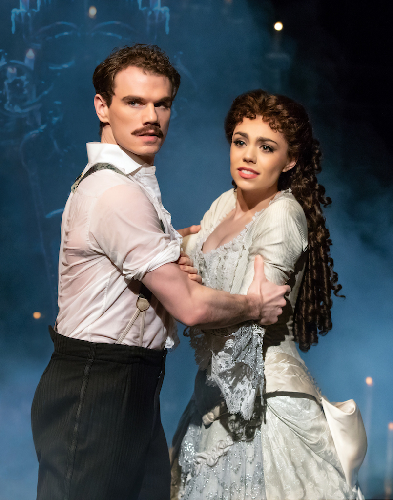 """Jay Armstrong Johnson as """"Raoul"""" and Kaley Ann Voorhees as """"Christine"""" in """"The Phantom of the Opera"""", Photo Credit: Matthew Murphy"""