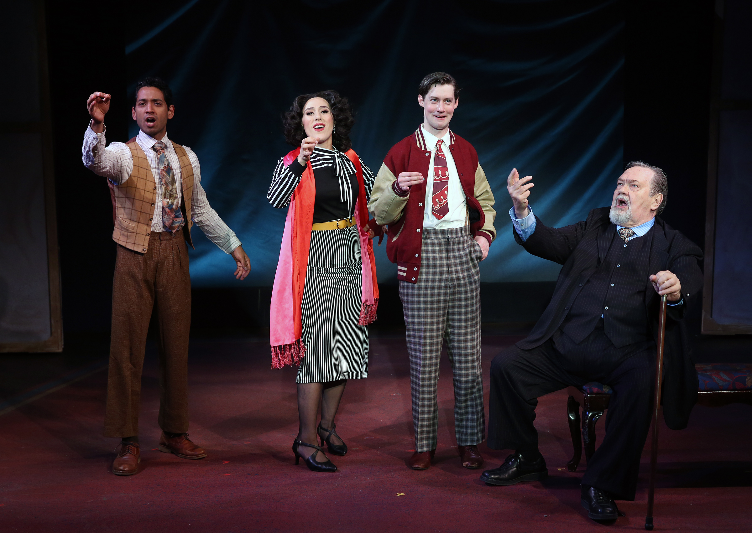 "Raji Ahsan, Farah Alvin, Chris Dwan, David Schramm in ""Enter Laughing"", Photo Credit: Carol Rosegg"