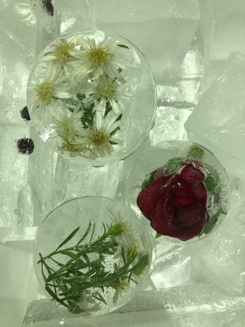 Some of the ice sculptures featured in Sugar Monk's handcrafted drinks