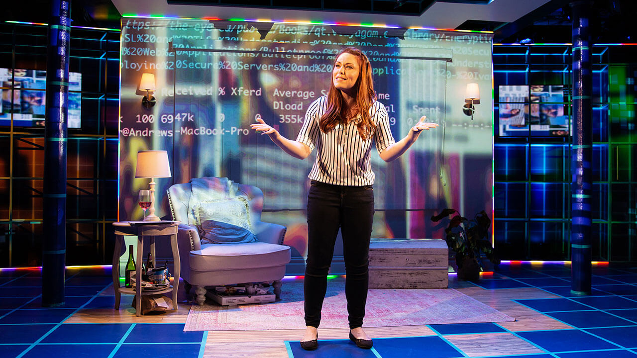 "Kaitlyn Black as ""Robyn"" in the New York production of ""#DateMe: An OkCupid Experiment"", Photo Credit: Jeremy Daniel"