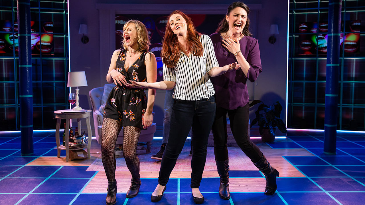 "Megan Sikora, Kaitlin Black, Liz Wisan in the New York production of ""#DateMe: An OkCupid Experiment"", Photo Credit: Jeremy Daniel"