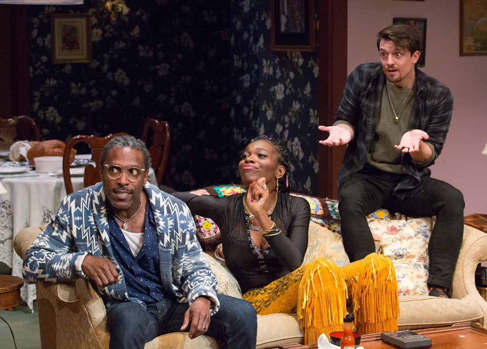 """André Ward, Kai Heath, and Parker Drown in Colman Domingo's """"Dot"""" at People's Light Theatre, Photo Credit: Mark Garvin"""