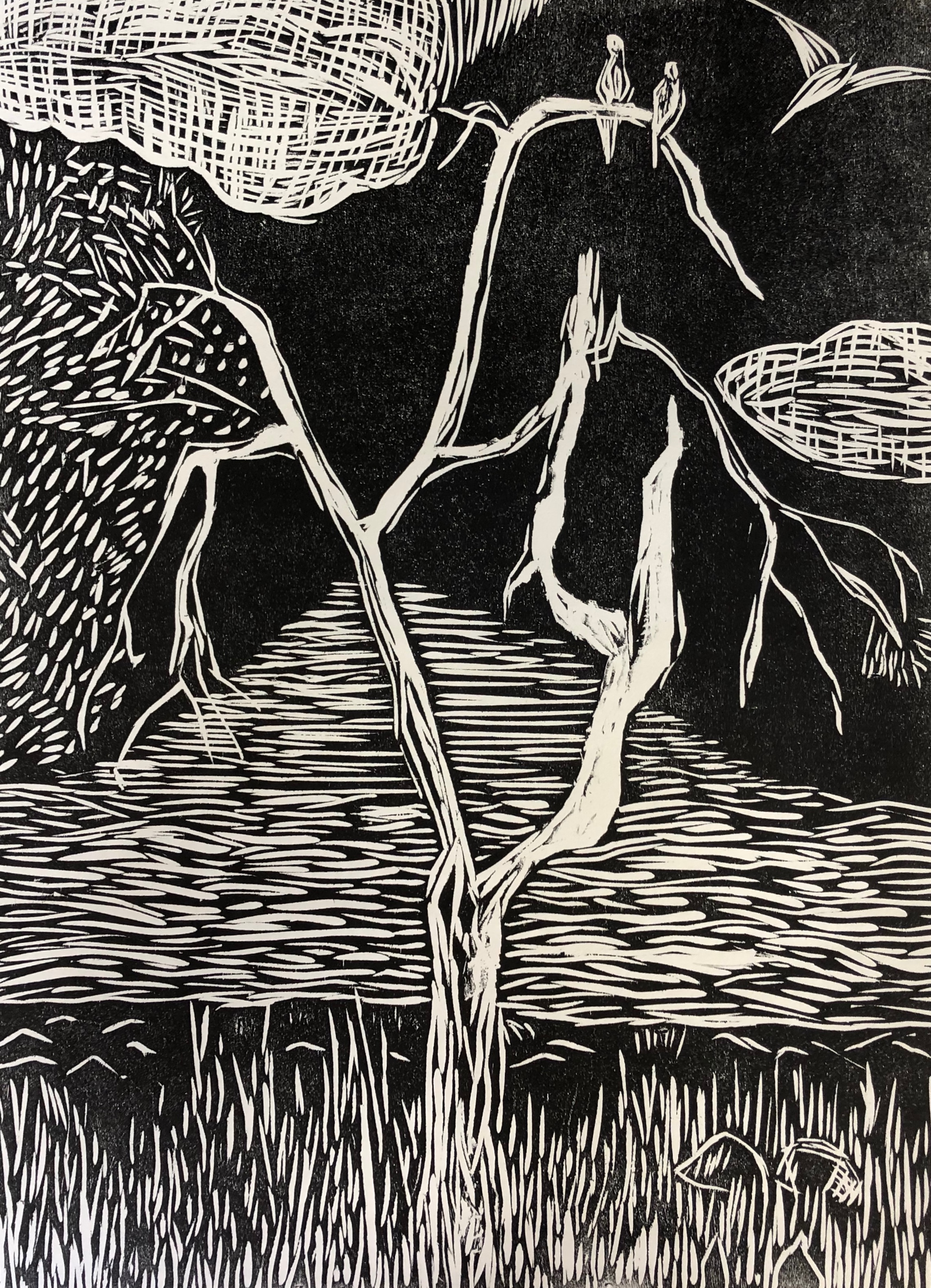 Woodcut Print - Redwood Shores