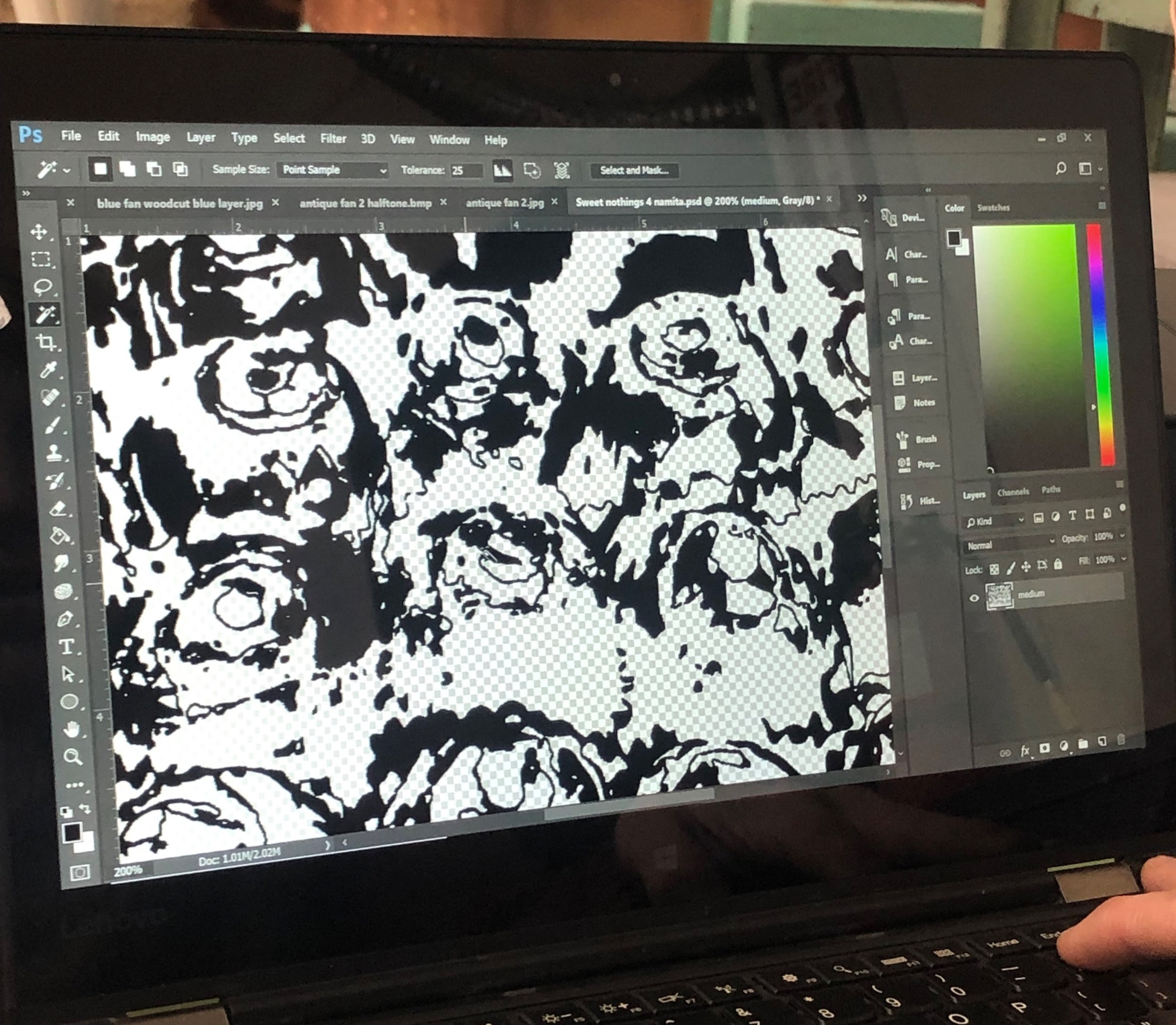 Figuring out the color combination and converting into Bitmap file for raster print. Grayscale, invert, print!