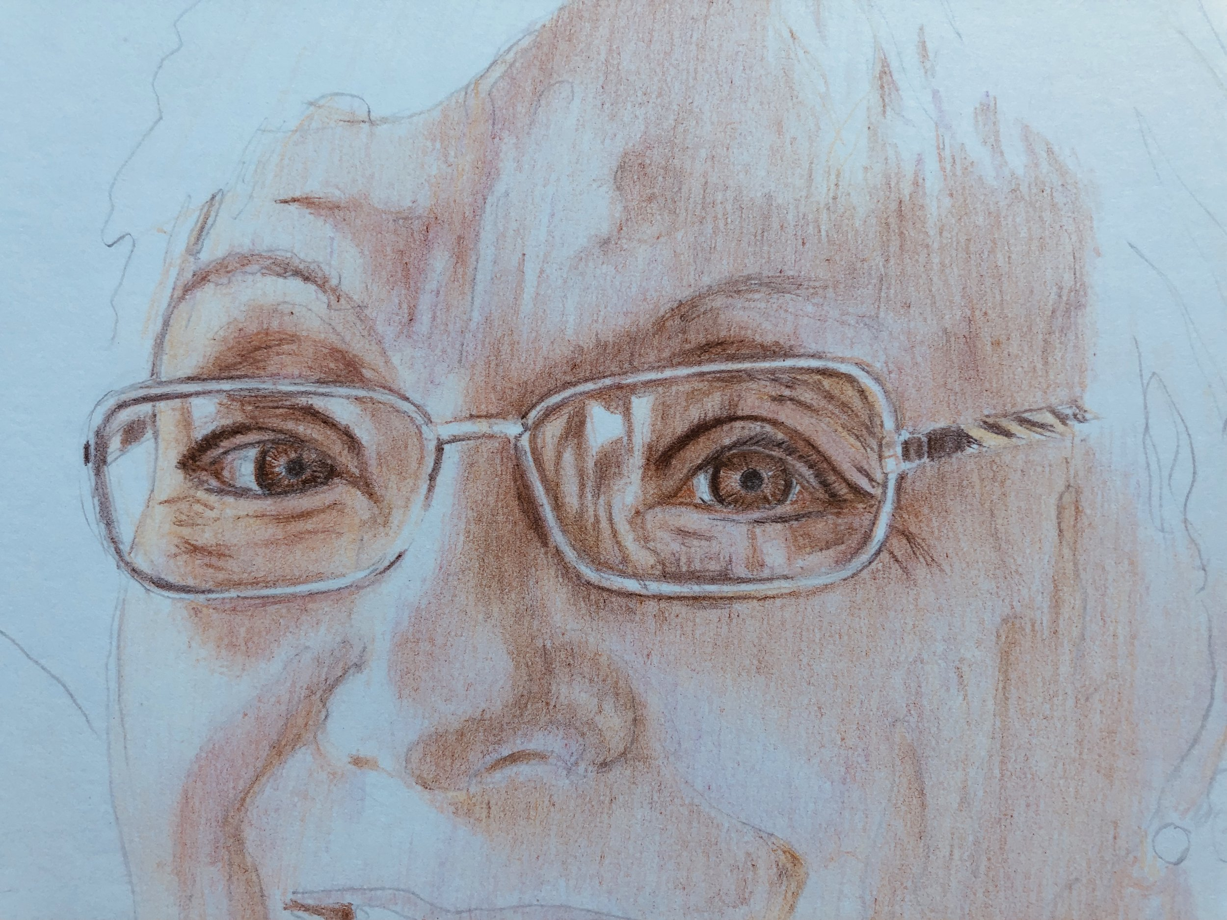 Adding more pinks and defining the eyes, eyeglasses and reflection some more here.