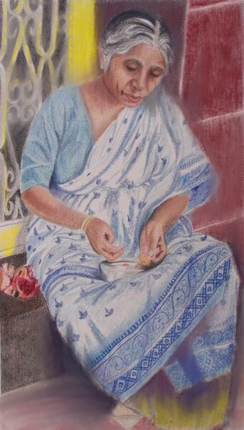 Like Pages of a Book in the Wind Color Pencil 16%22X9%22 WIP 1Namita Paul Studio.JPG