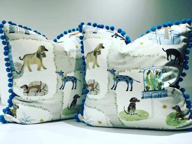 Doggie Days of Summer have Arrived!  #FletcherandBeauBeau #sewhallie  #romofabrics  @montgomeryhomedesign.com