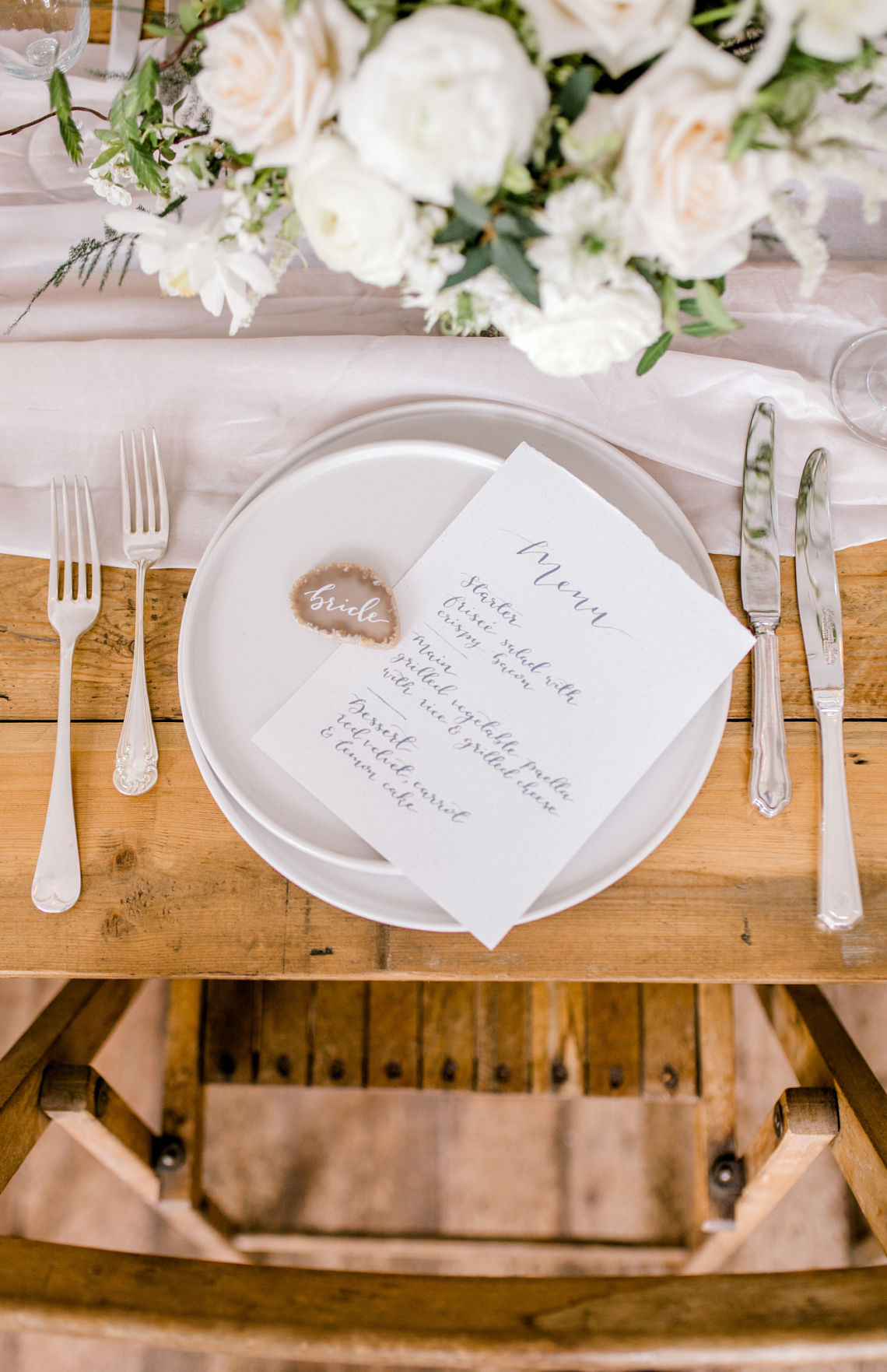 Fine art wedding - place setting with neutral colours - Essex wedding planner