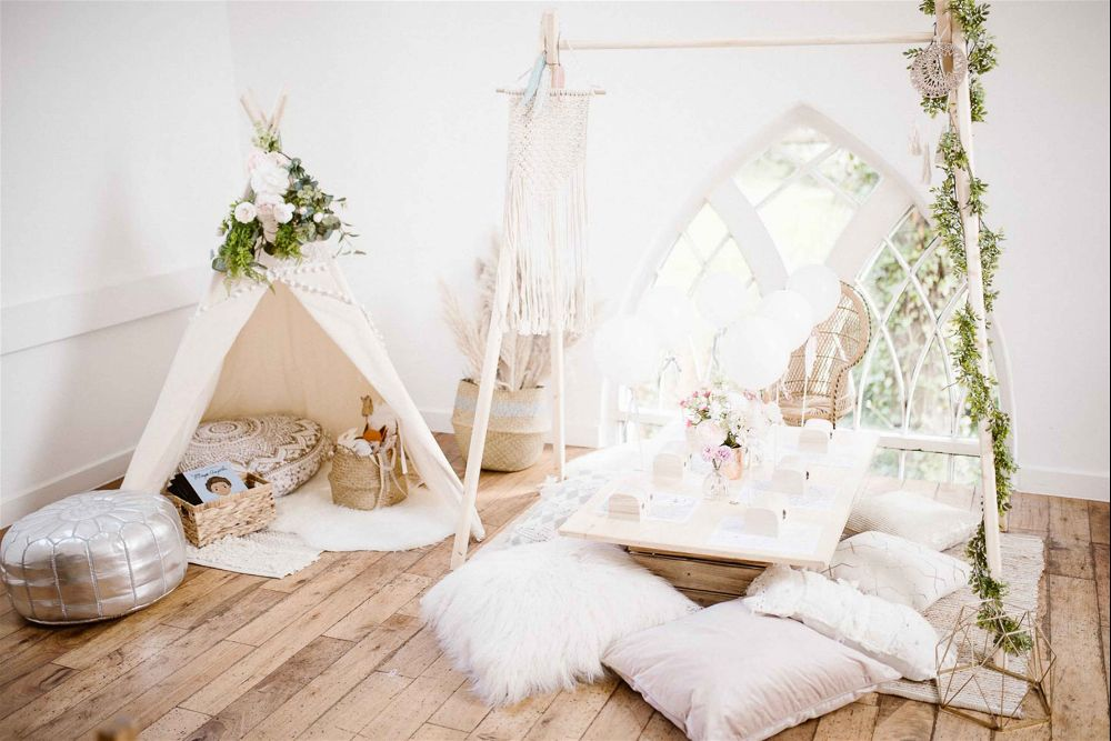 Children's area set up for a wedding by Fable and Moon