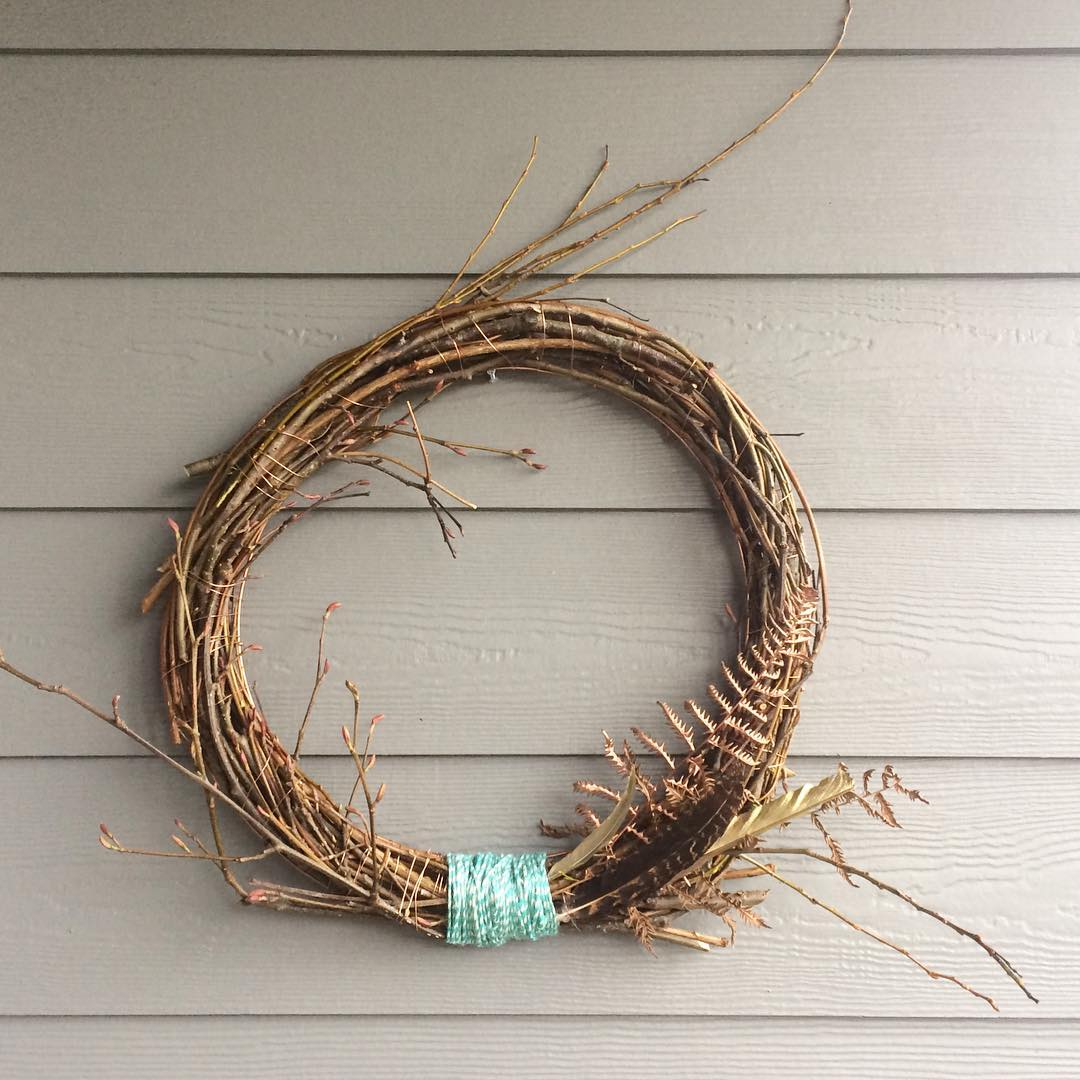 This wreath measures about 19 inches across. Materials: foraged branches, copper wire, teal twine. . Retail value: $50. Shipping: $20