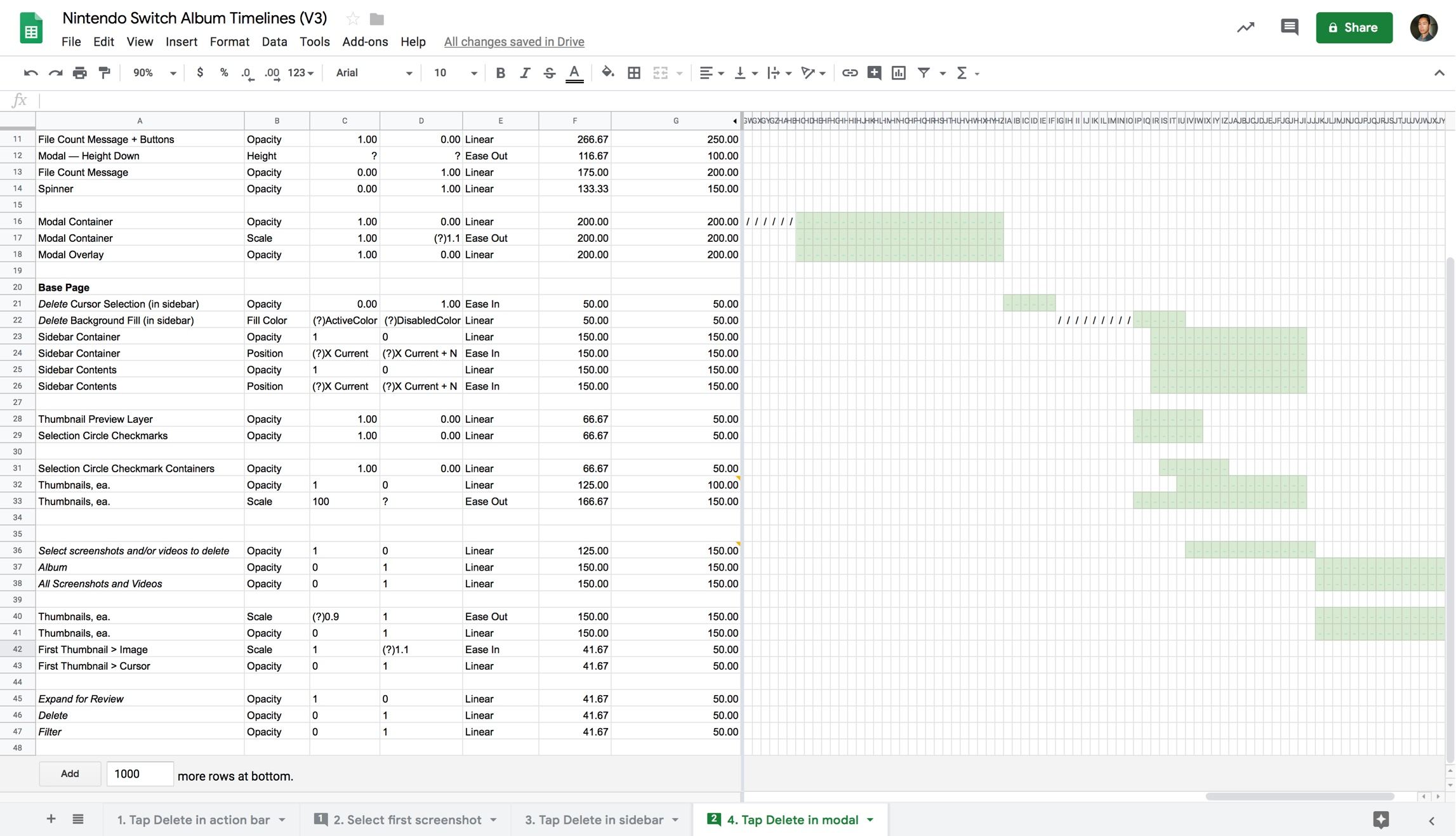 Animated properties in the last step of the  Delete  flow.  See the full spreadsheet in Google Sheets .