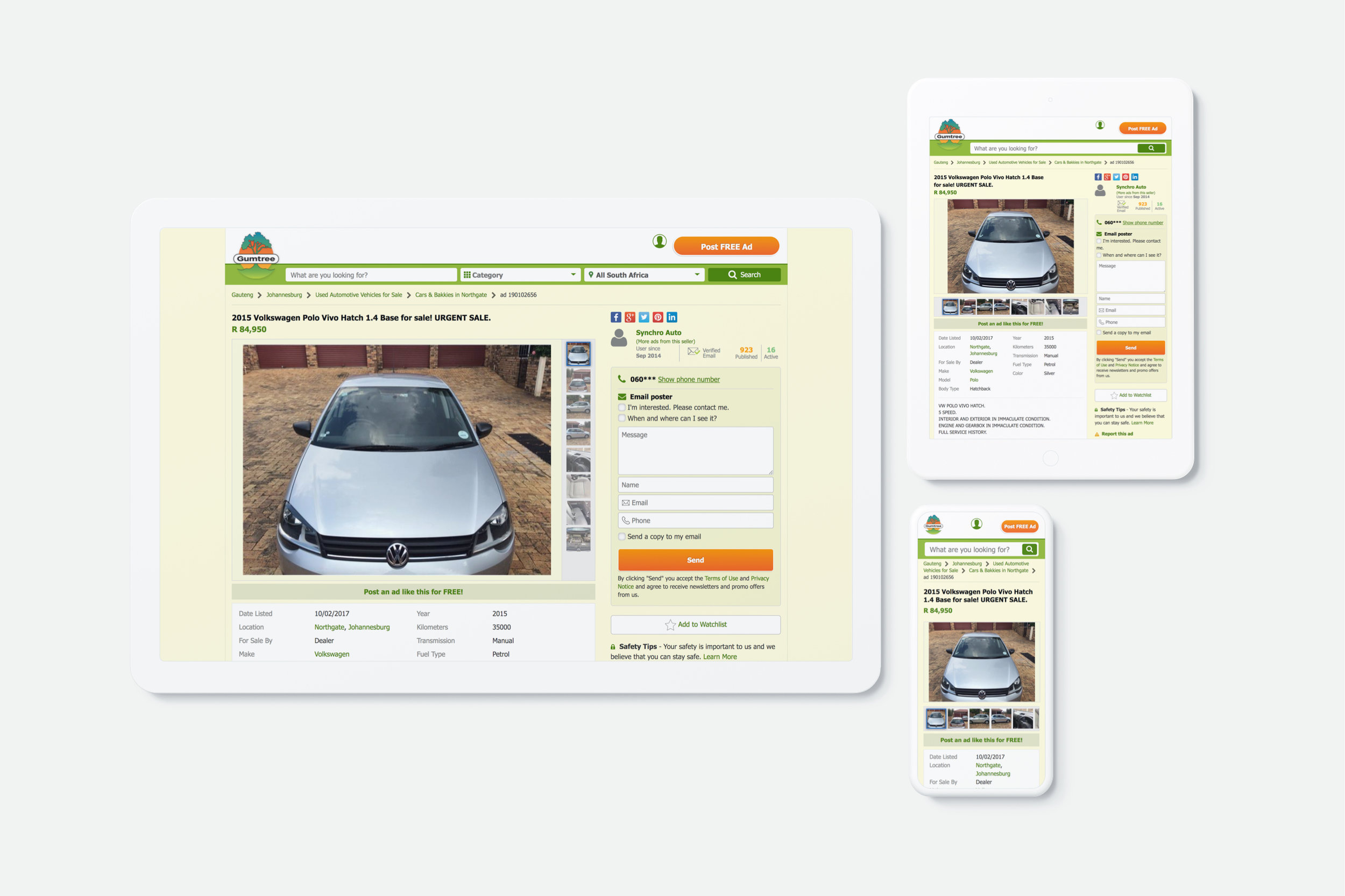 eBay Classifieds Responsive Redesign   I increased a website's monthly active users by 60% by updating a desktop-only experience to be mobile-friendly.   Front-End Development