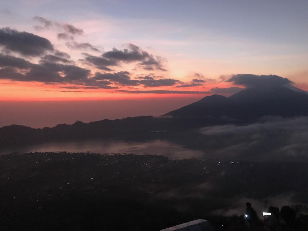 Sun rising behind Mt. Agung
