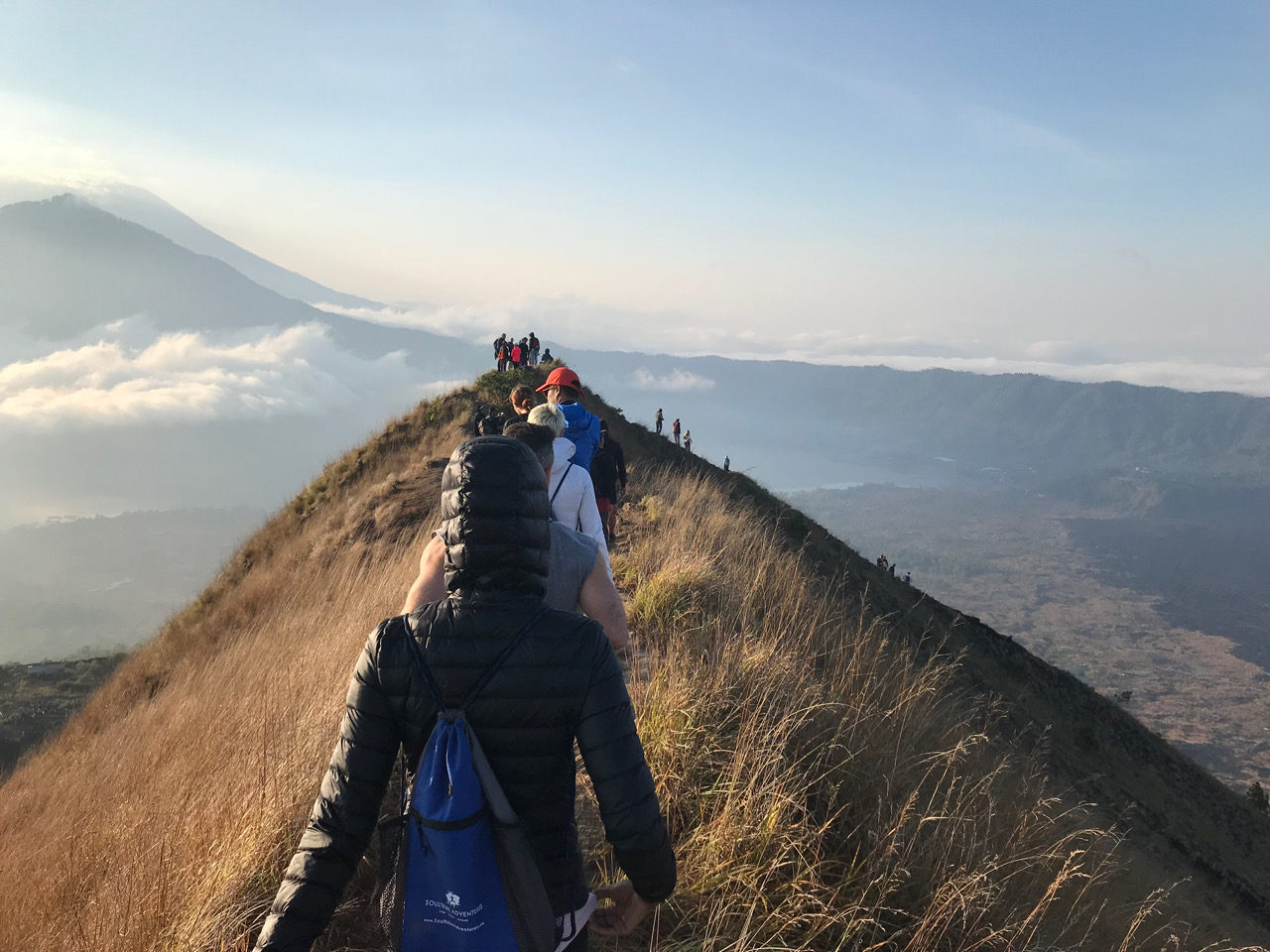 Hiking down the volcano