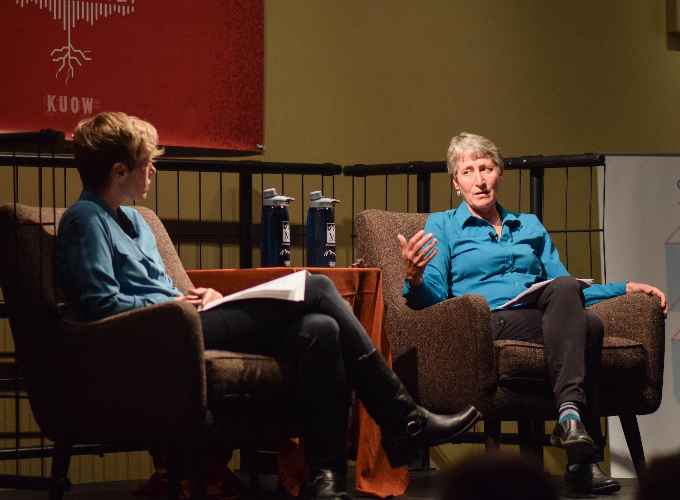 Interviewing Sally Jewell, former Interior Secretary under President Obama, before a live audience.