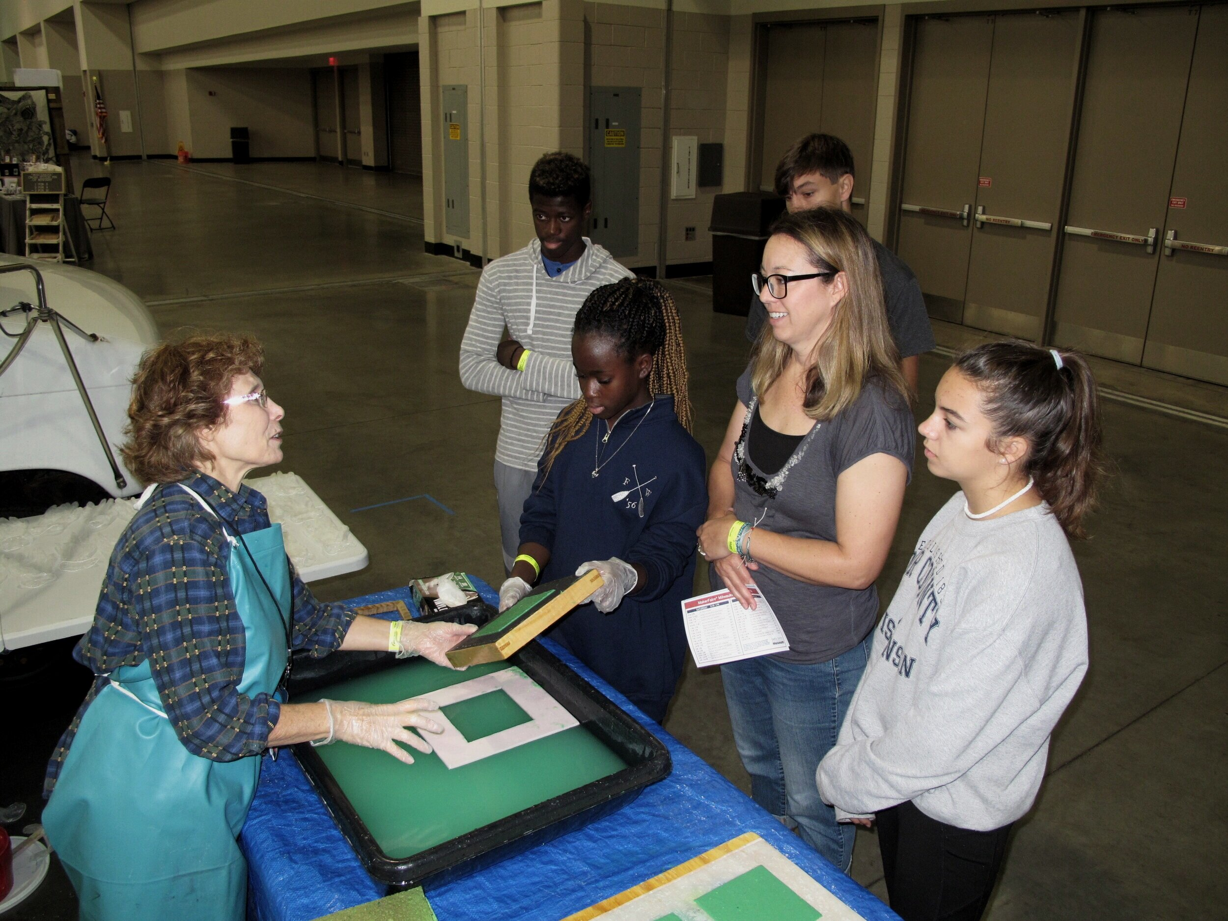 2019 Milwaukee Maker Faire - We gave away hundreds of hand made prints  @ our Make A Sheet,Take A Sheet paper-making and relief  print station