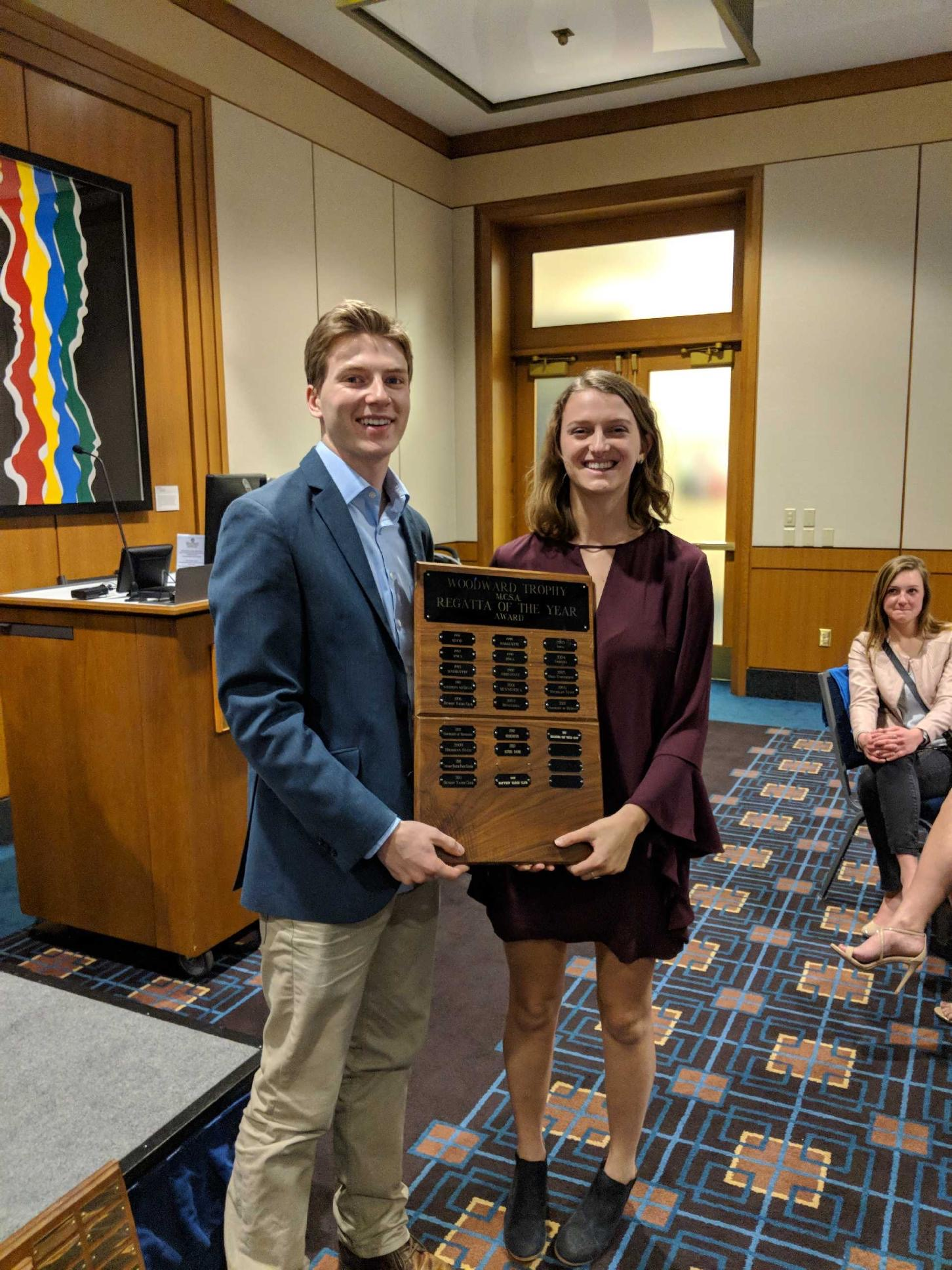 """Austin and Amy with the """"Best Regatta"""" Award"""