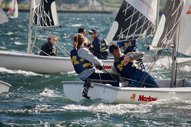 Pre-start action shot from Team Race Nationals! It was a fun past two days gaining lots of experience! 📸 by @chenardvisuals #mgosail #umichsailing