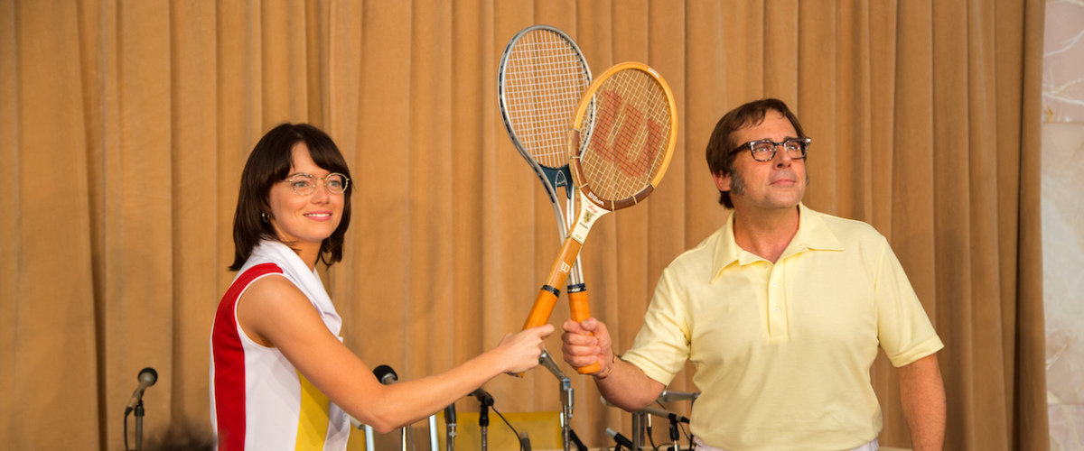 Emma Stone as Billie Jean King and Steve Carrell as Bobby Riggs in  Battle of the Sexes