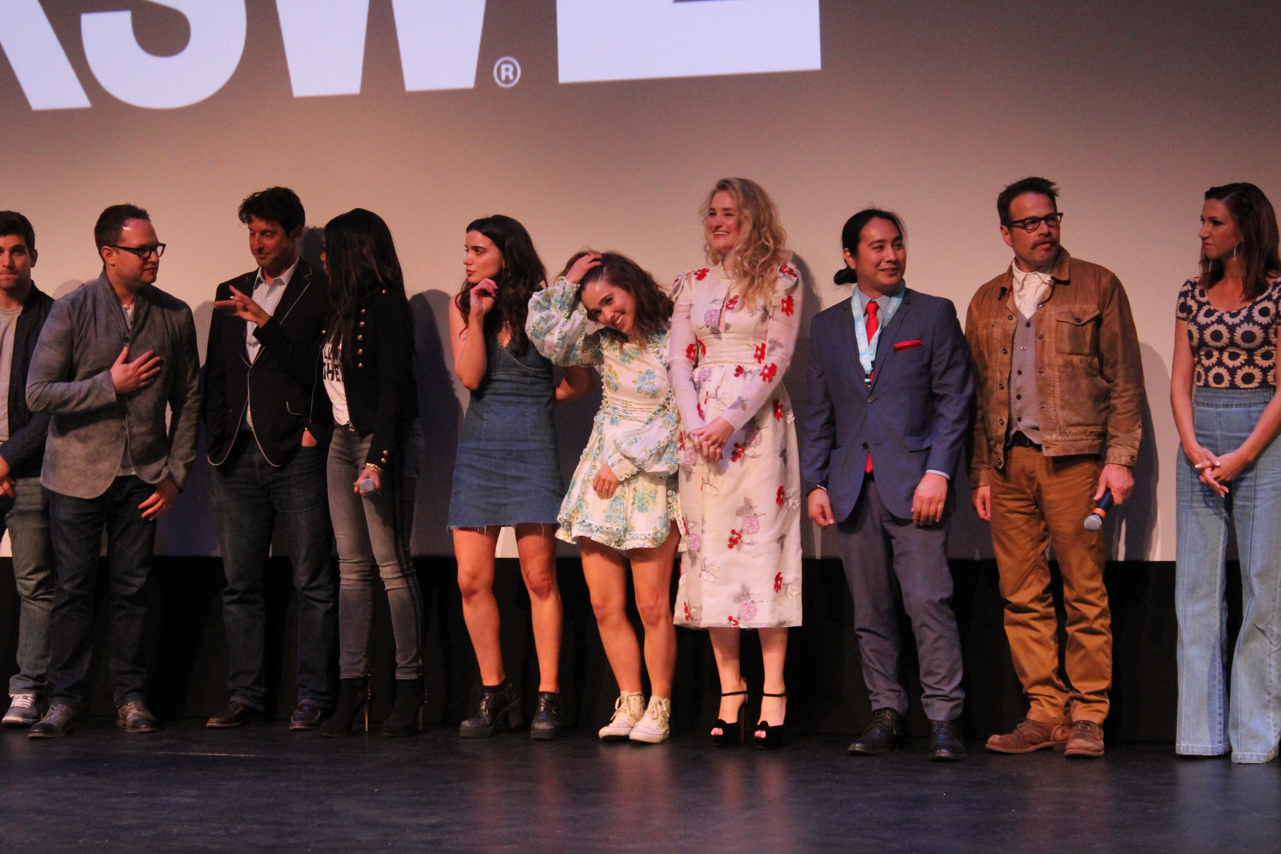 The cast of  Support the Girls  onstage at the film's world premiere at the ZACH Theater in Austin, TX. Photo by Alyson Fluhart.