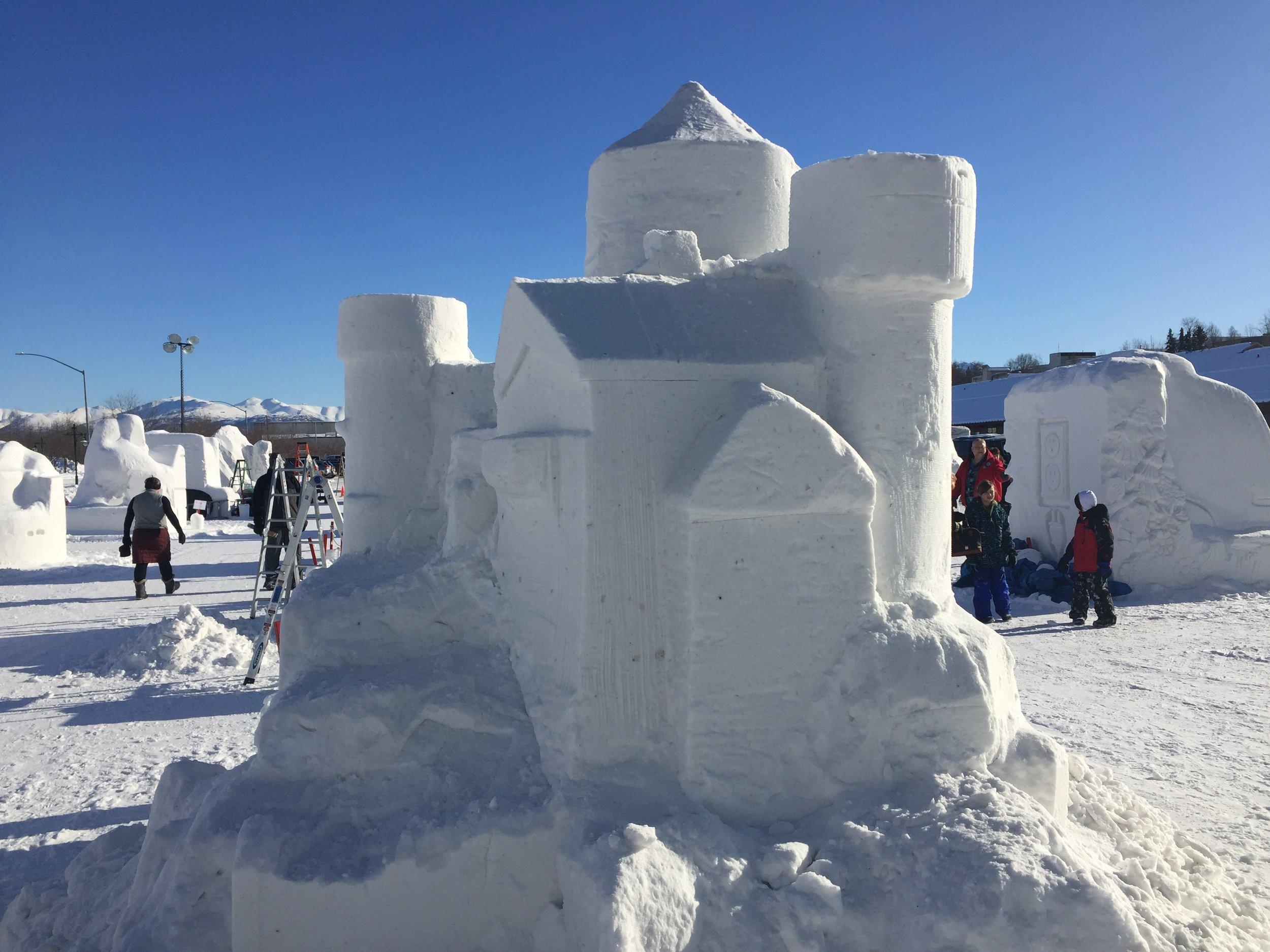 Even got to explore a little. Amazing snow Sculptures!
