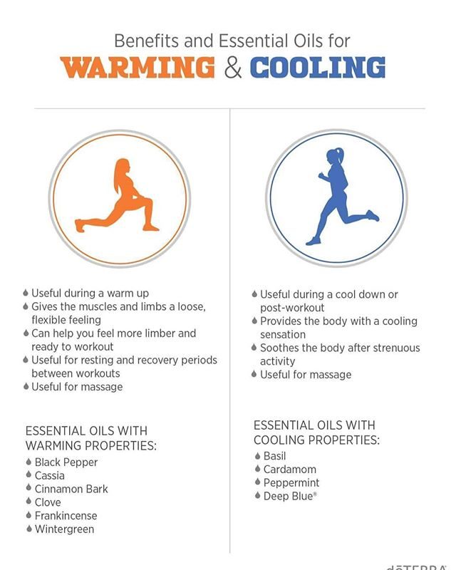 Did you know there are warming and cooling essential oils? They offer different benefits from one another and are useful in their own, unique ways. This graphic gives bullet points for uses as well as ways to incorporate them into your exercise routine.  Don't forget to dilute your essential oil of choice with Fractionated Coconut Oil to protect against skin sensitivity and reach a larger area of the skin. . . . #doterra #doterraessentialoils #essentialoils #healthytips #chemicalfree #organicliving #keepingitnatural