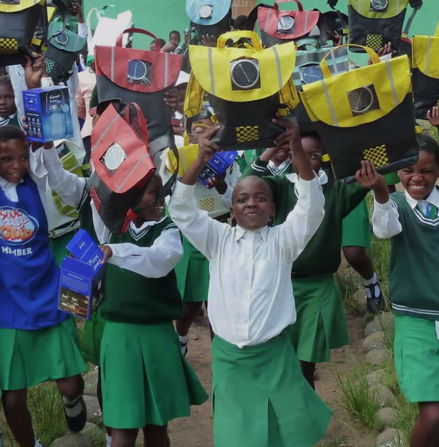 Upcycled solar powered schoolbags