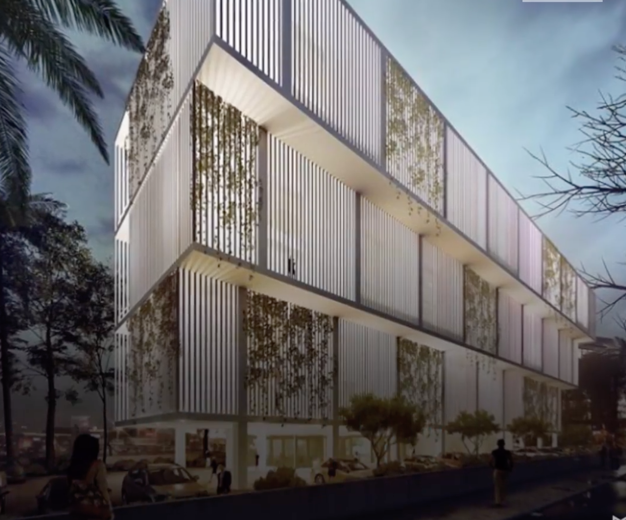 Eco-friendly office building uses plants for A/C