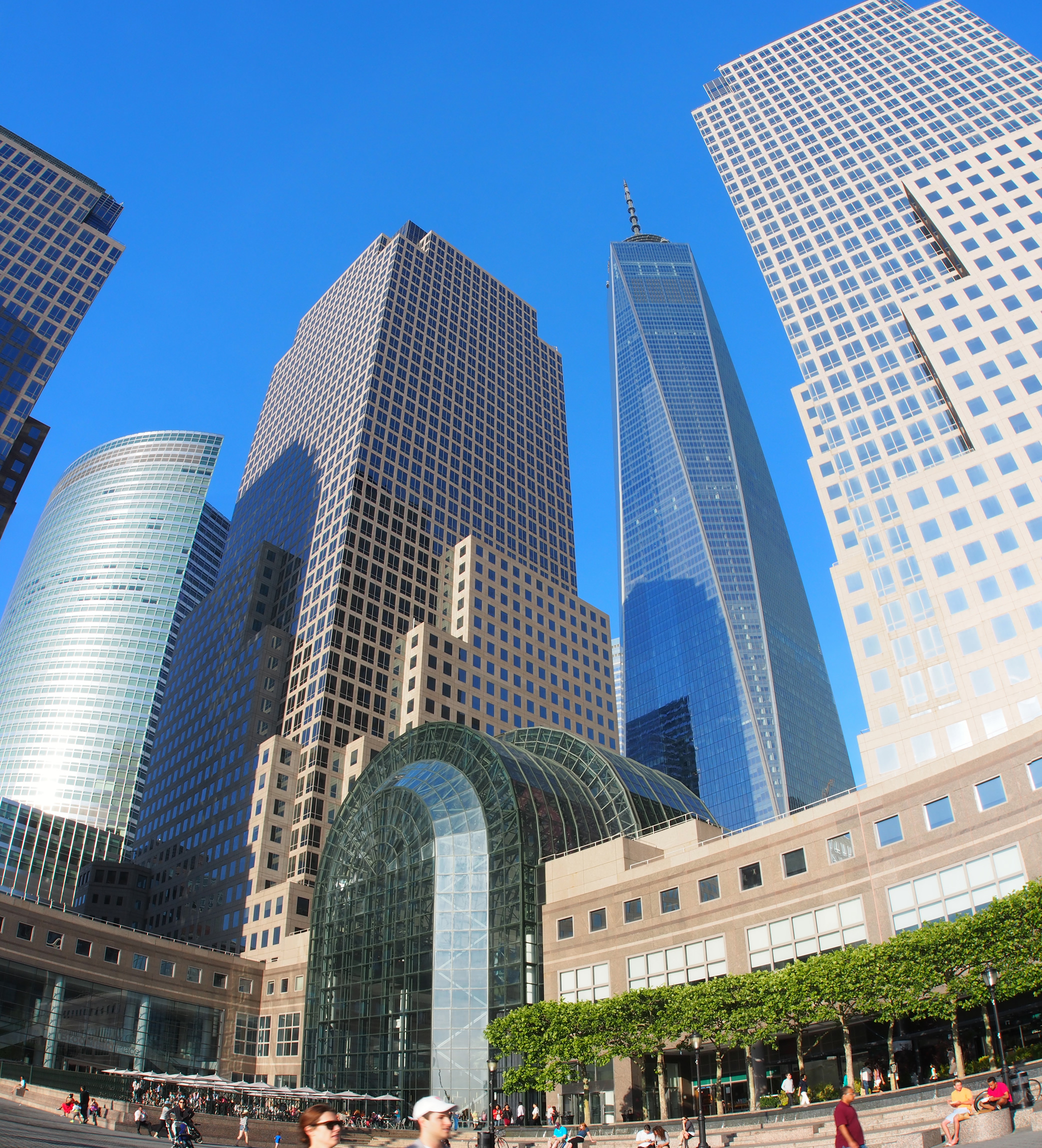 A fisheye view of Freedom Tower in NYC.