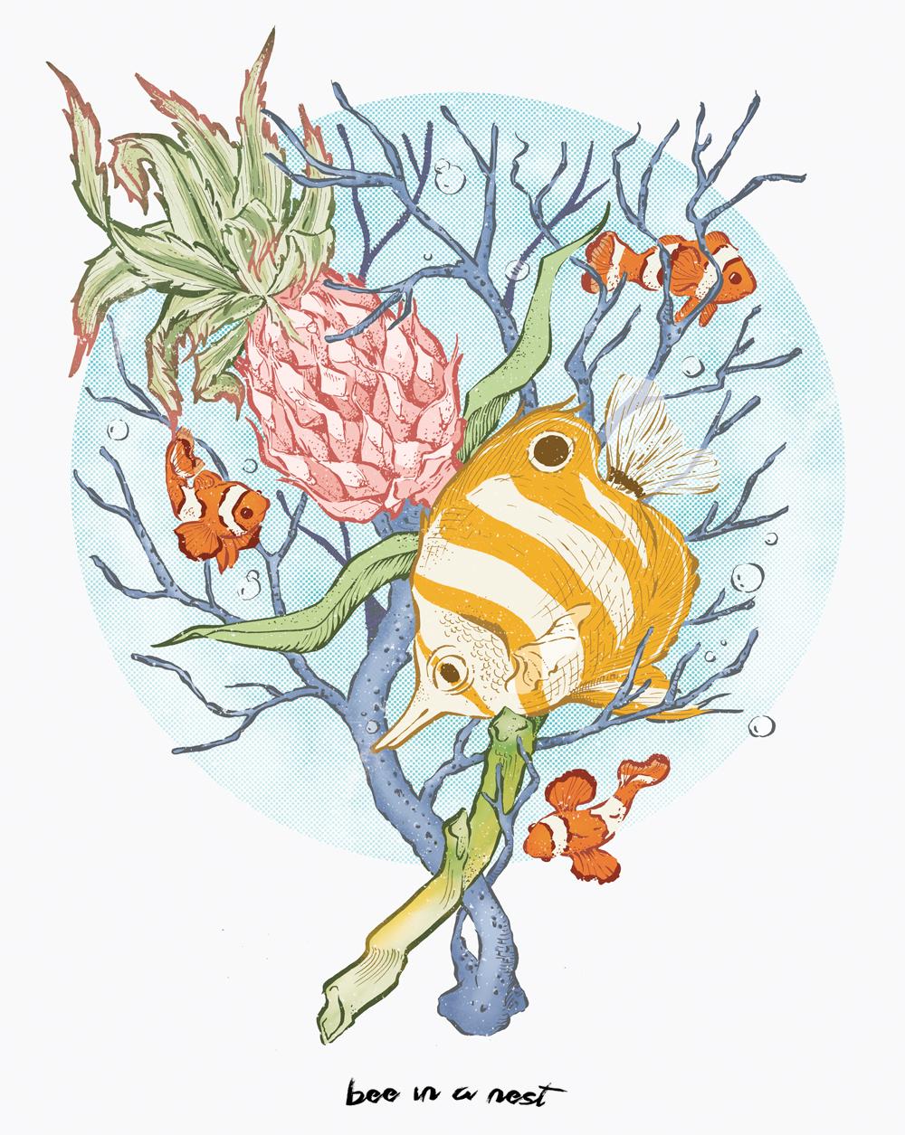 Un bouquet un po' acquatico un po' tropicale - Nasce come esperimento per variare il mio stile, ma alla fine é dura allontanarsi dalle abitudini. Nella mia testa ho tutto un nuovo mondo immaginario che vuole venire fuori, ma ancora non so bene inquadrare la via da prendere.Per ora é chiaro che ho proprio voglia di vacanze al mare!