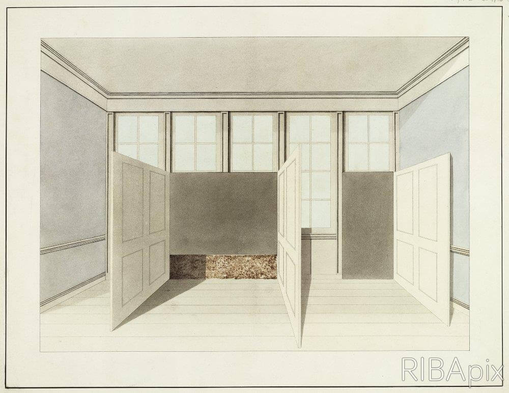 DESIGN FOR THE REMODELLING OF PLAS NEWYDD, LLANFAIRPWLL, ANGLESEY, FOR THE MARQUESS OF ANGLESEY: PERSPECTIVE OF AN INTERIOR WITH THREE DOORS OR PANELS OPENING INWARDS INTO THE ROOM