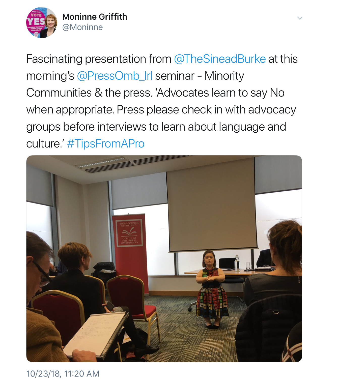 """Sinead Burke: """"Press, please check in with advocacy groups before interviews to learn about language and culture"""""""
