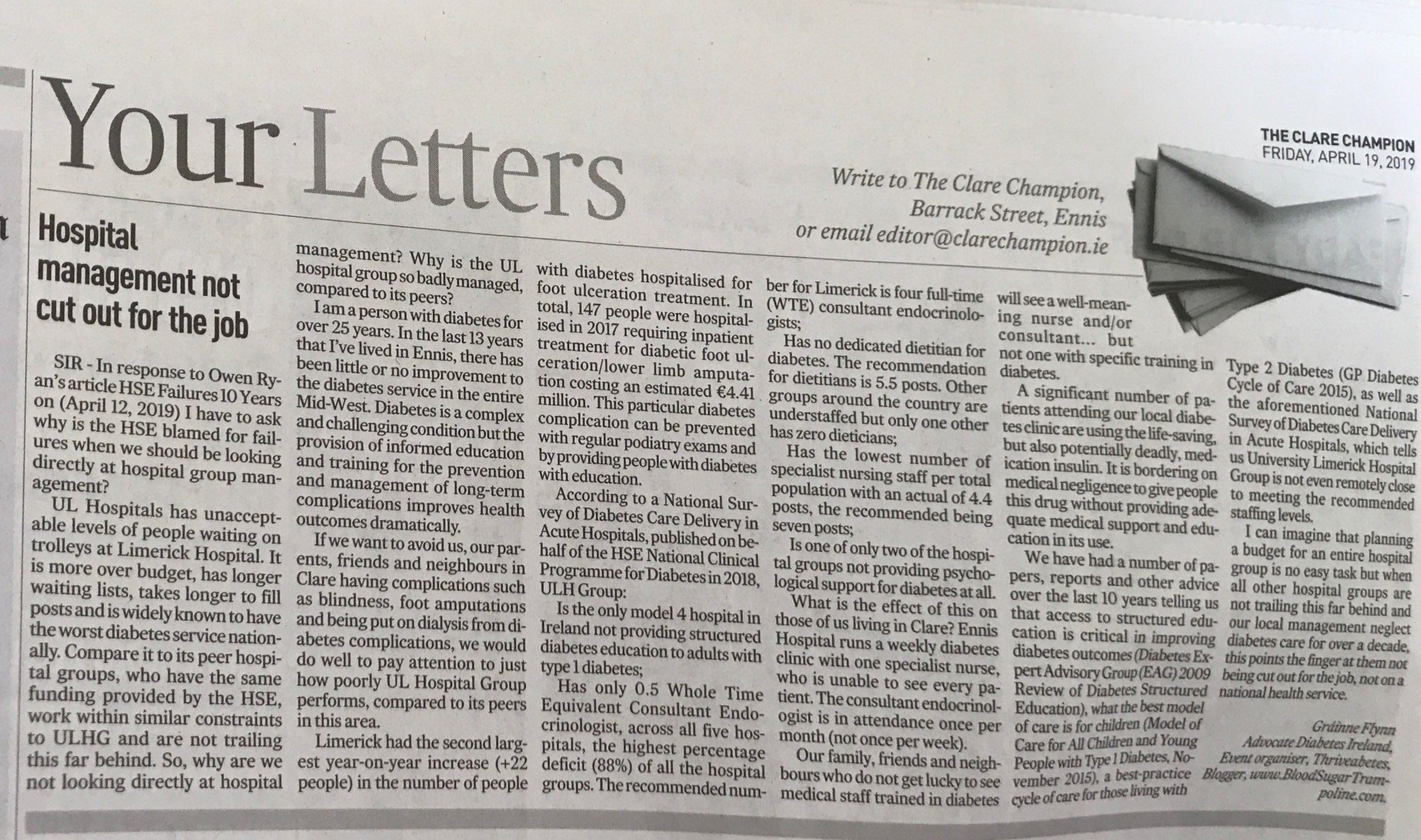 My Editor's Letter to the Clare Champion April 19th 2019