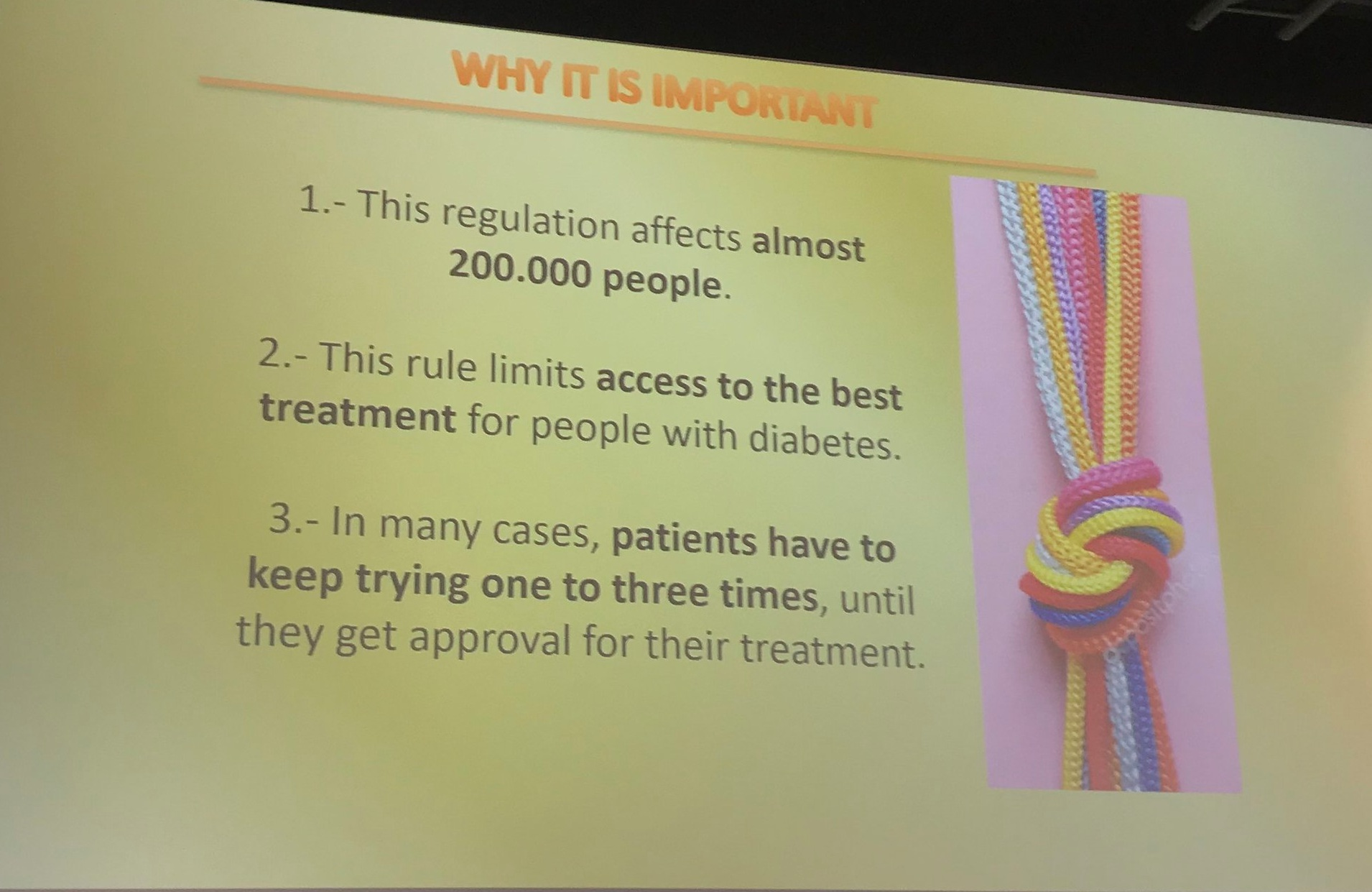 Why is this issue important and what is the effect on people with diabetes? Spanish Diabetes Assoc