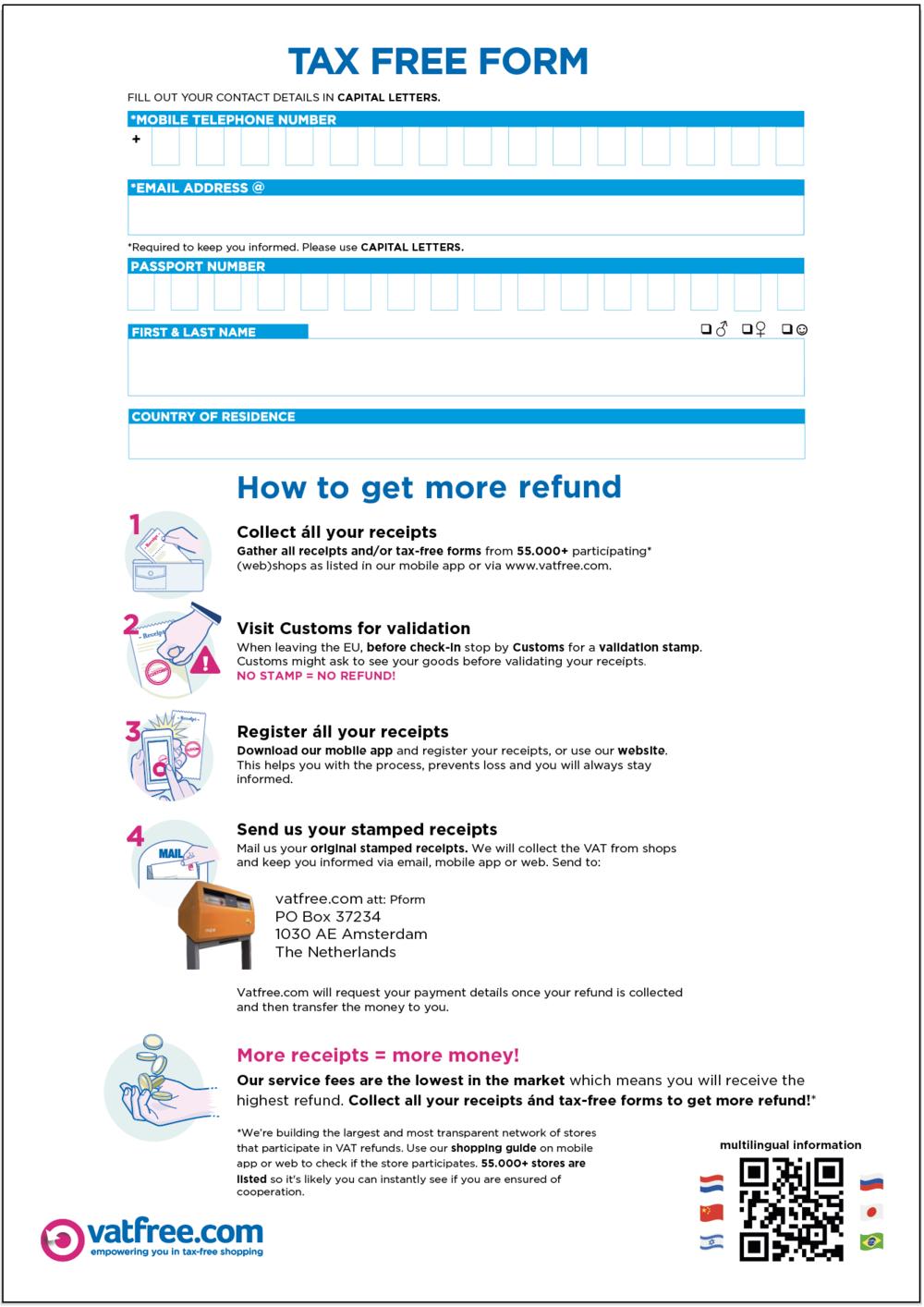 tax free form number  Download a VAT refund form: Vatfree.com Vatfree.com