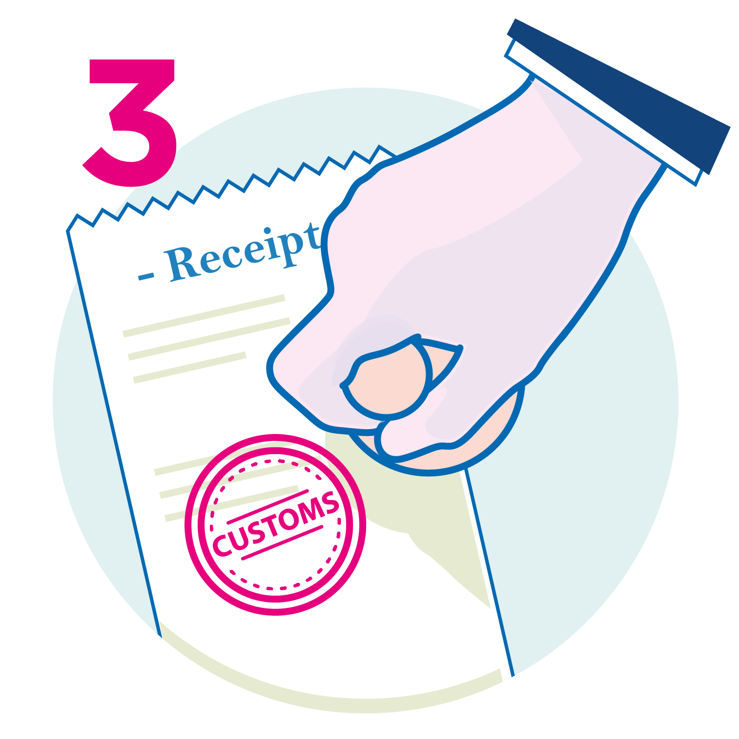 Get your receipt validated at customs