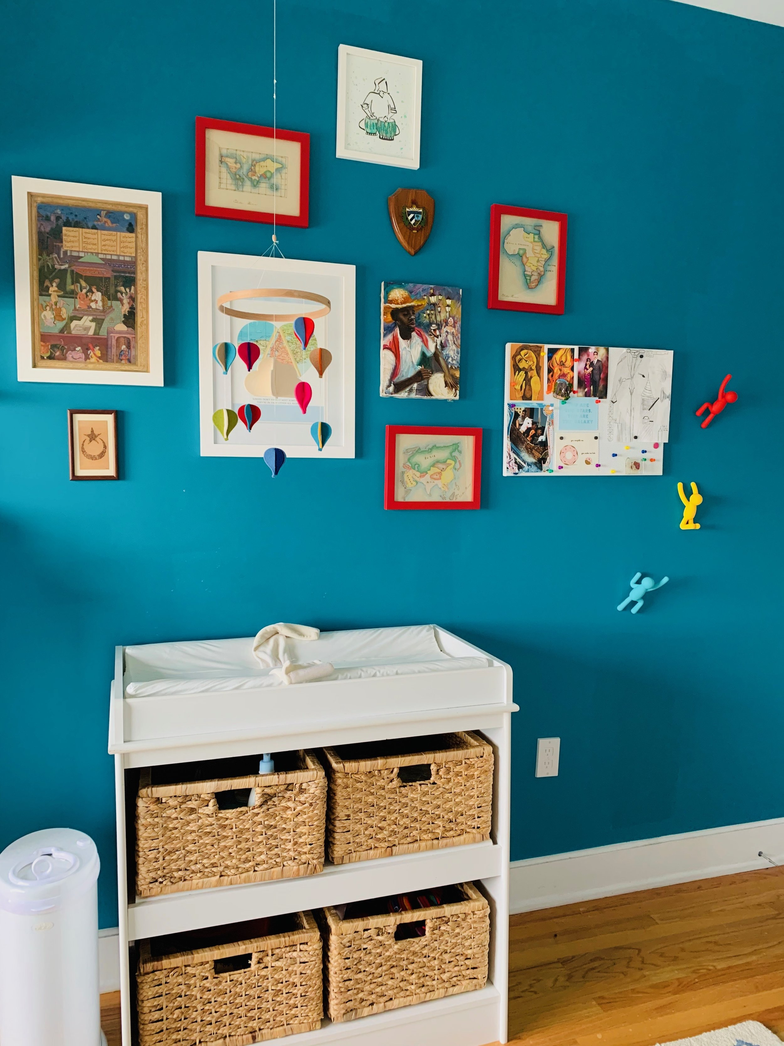 Above:   Diaper Pail ,  Changing Table ,  Changing Pad ,  Baskets ,  Hot Air Balloon Mobile