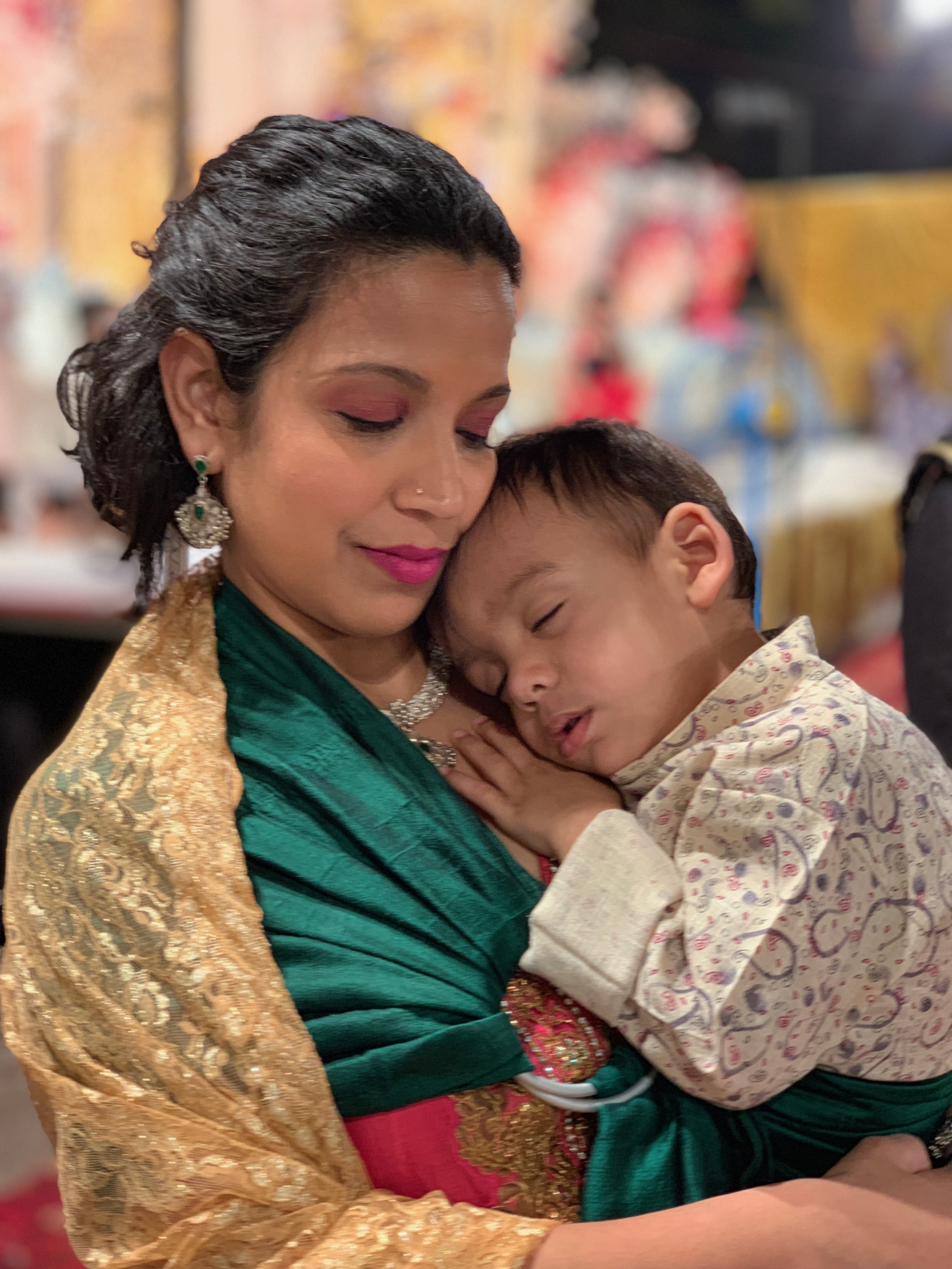 Baby G sleeping in my ring sling during my cousin's wedding in Mumbai