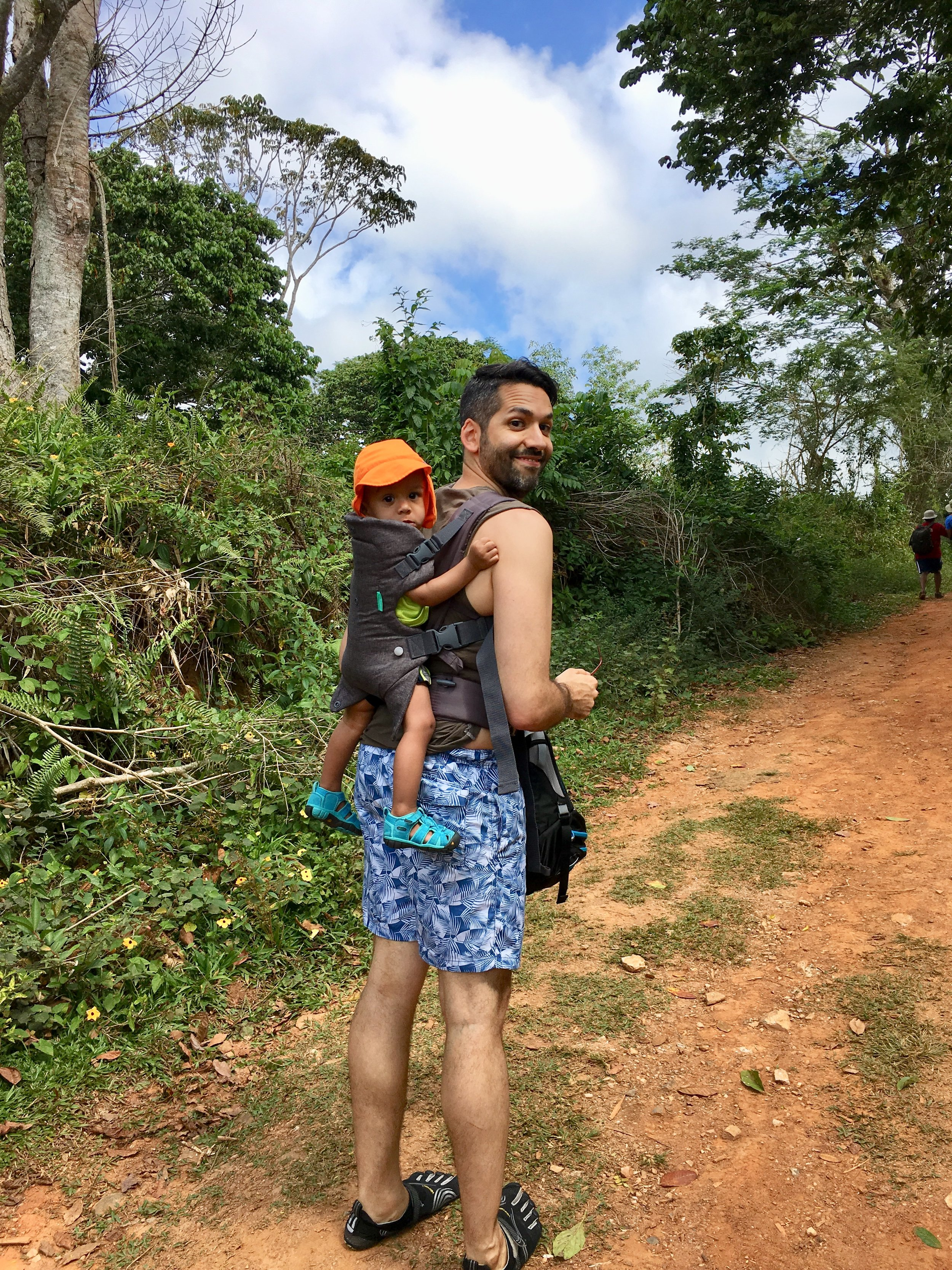 Baby G on his first hike to a waterfall in Topes de Collantes nature reserve park in the Escambray Mountains in Cuba