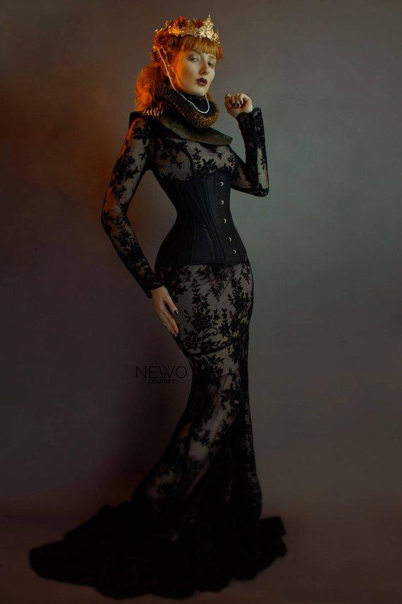Black Silk Corset