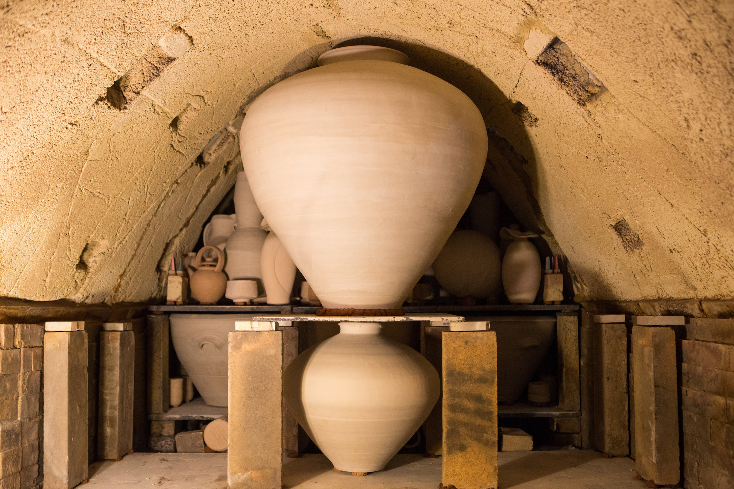 Anagama kiln at Tye River Pottery filled with very large pots featured in this show.