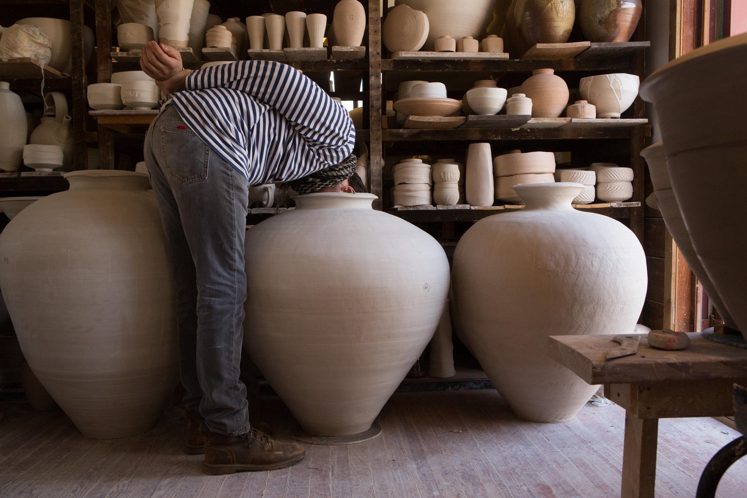 Peter Rausse doing a final pot inspection . . .