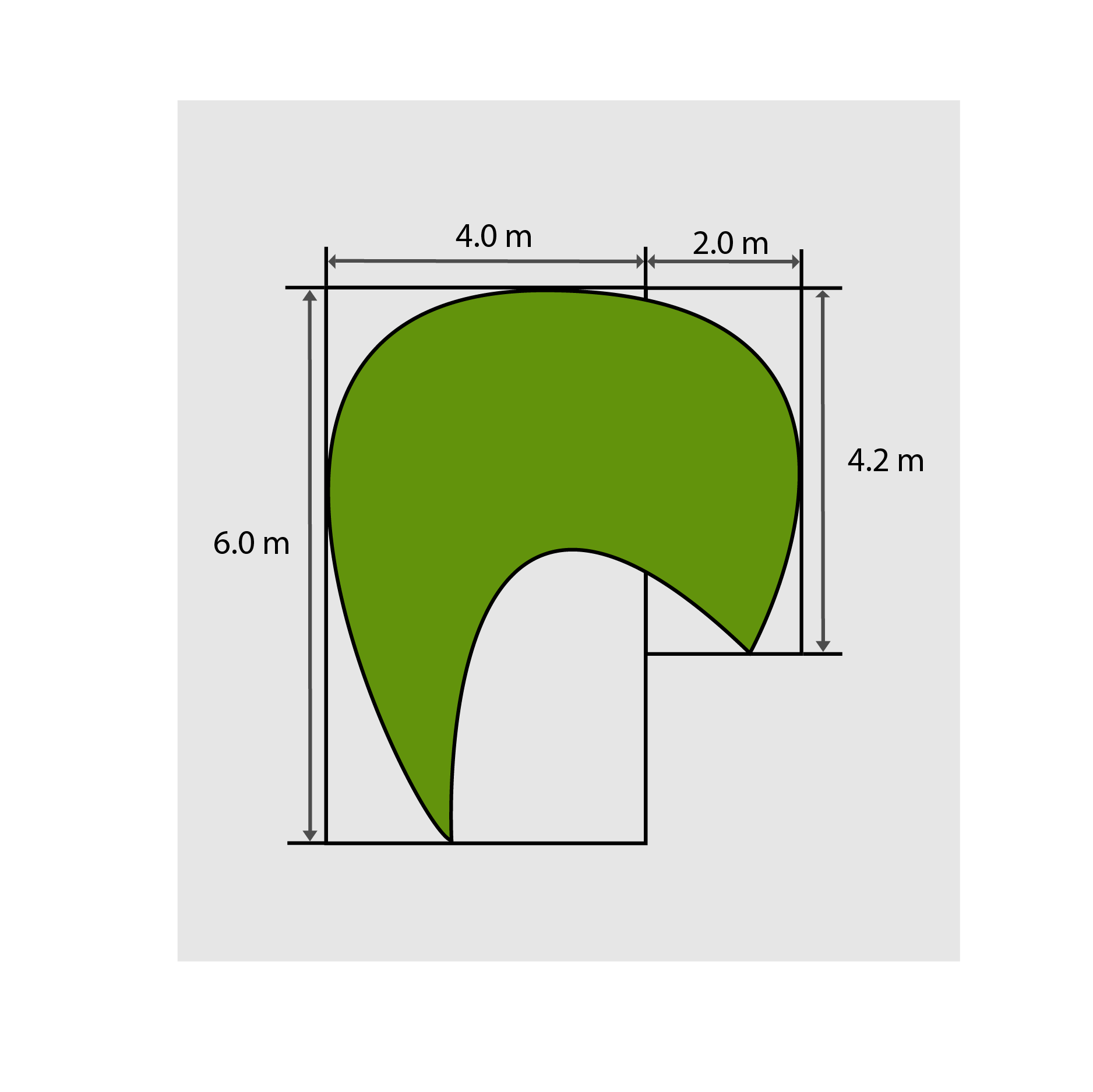 4.0m x 6.0m = 24m² </br> 2.0m x 4.2m = 8.4m² </br> Total = 32.4m² to purchase
