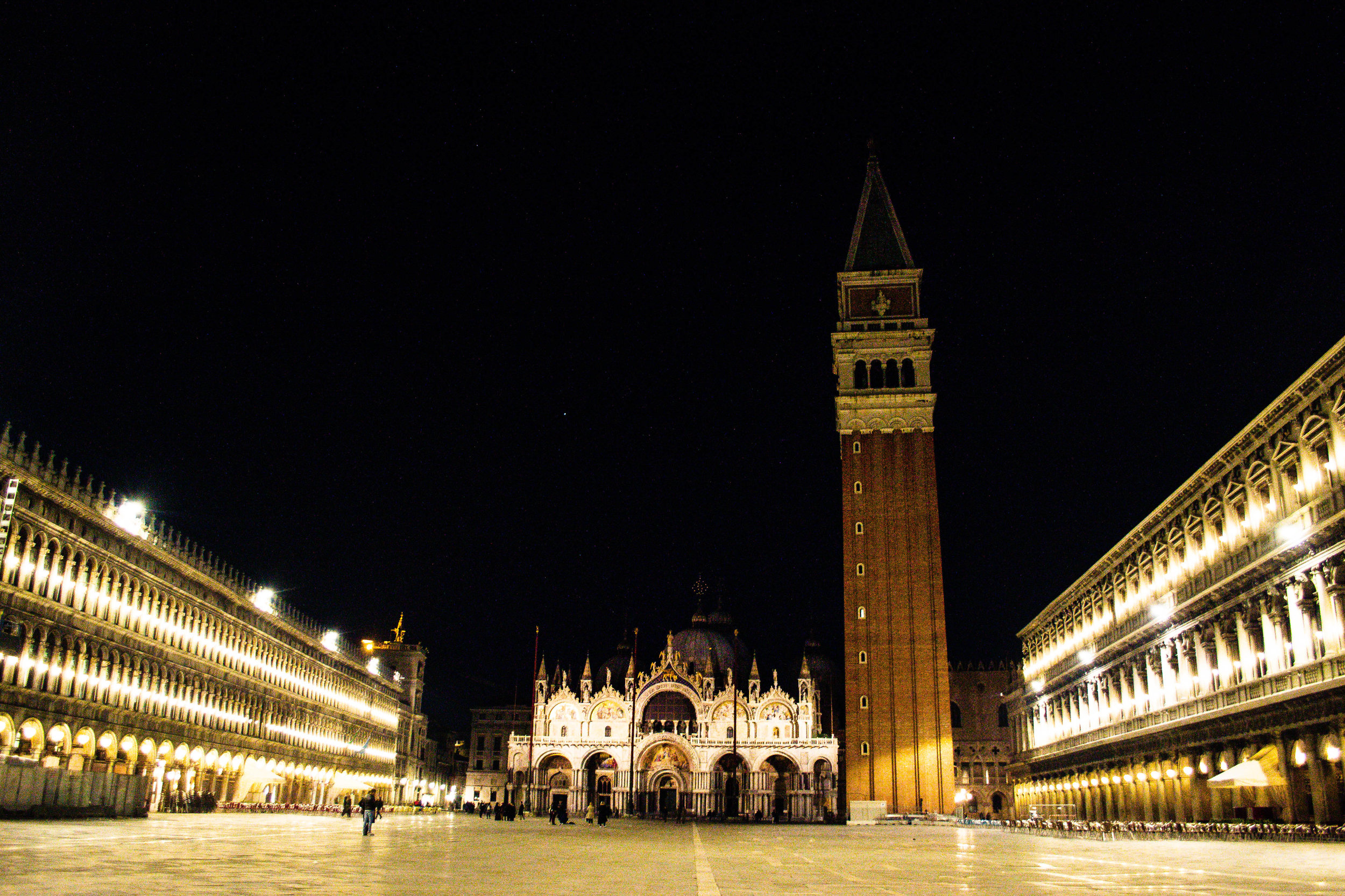 when crowd is gone.  san marco square. venice.