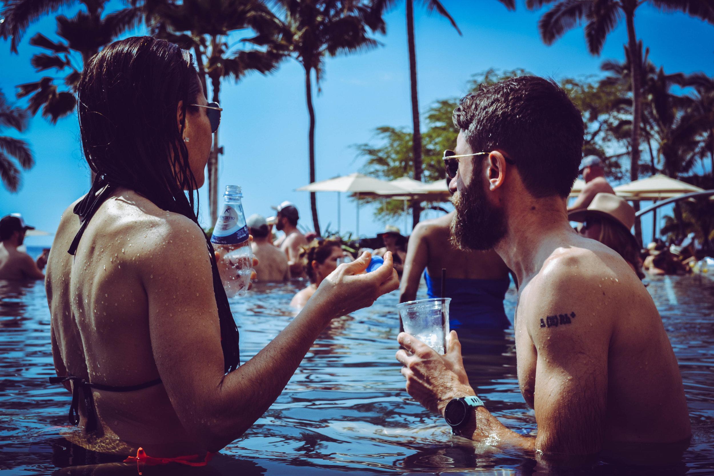 pool party. hotel four seasons.  oahu. hawaii. usa.