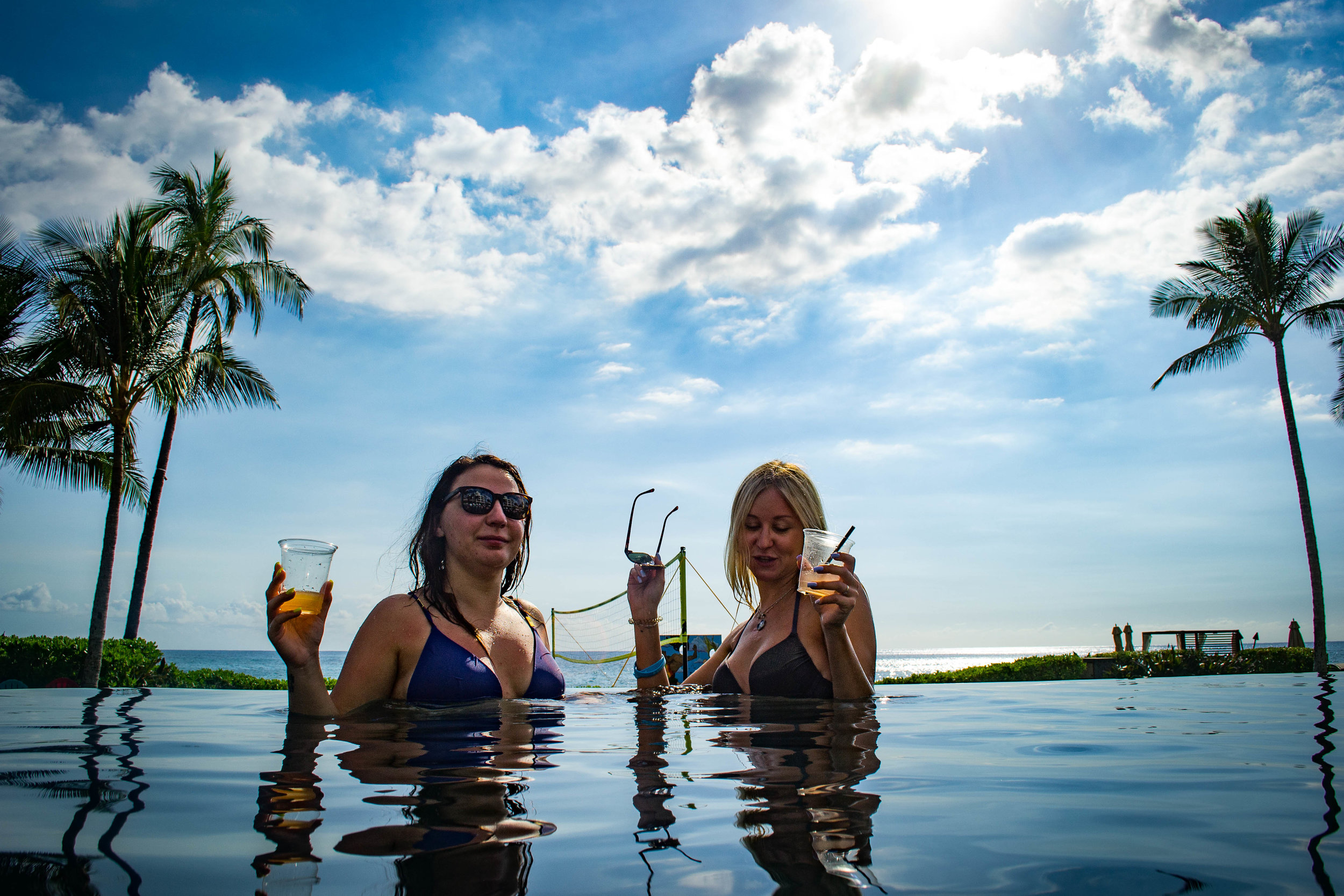pool networking.  hawaii. usa.