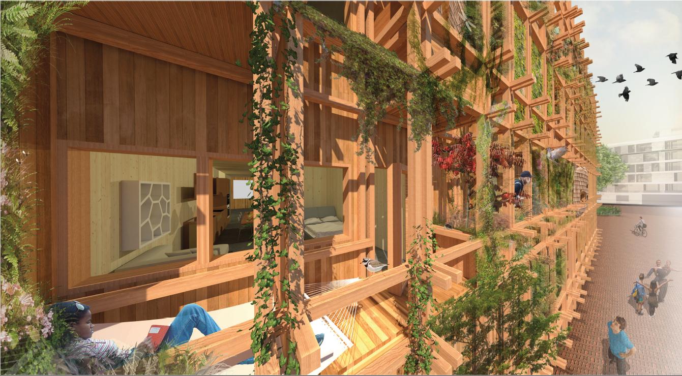 De mikado structuur van De Warren van dichtbij (c) Natrufied Architecture